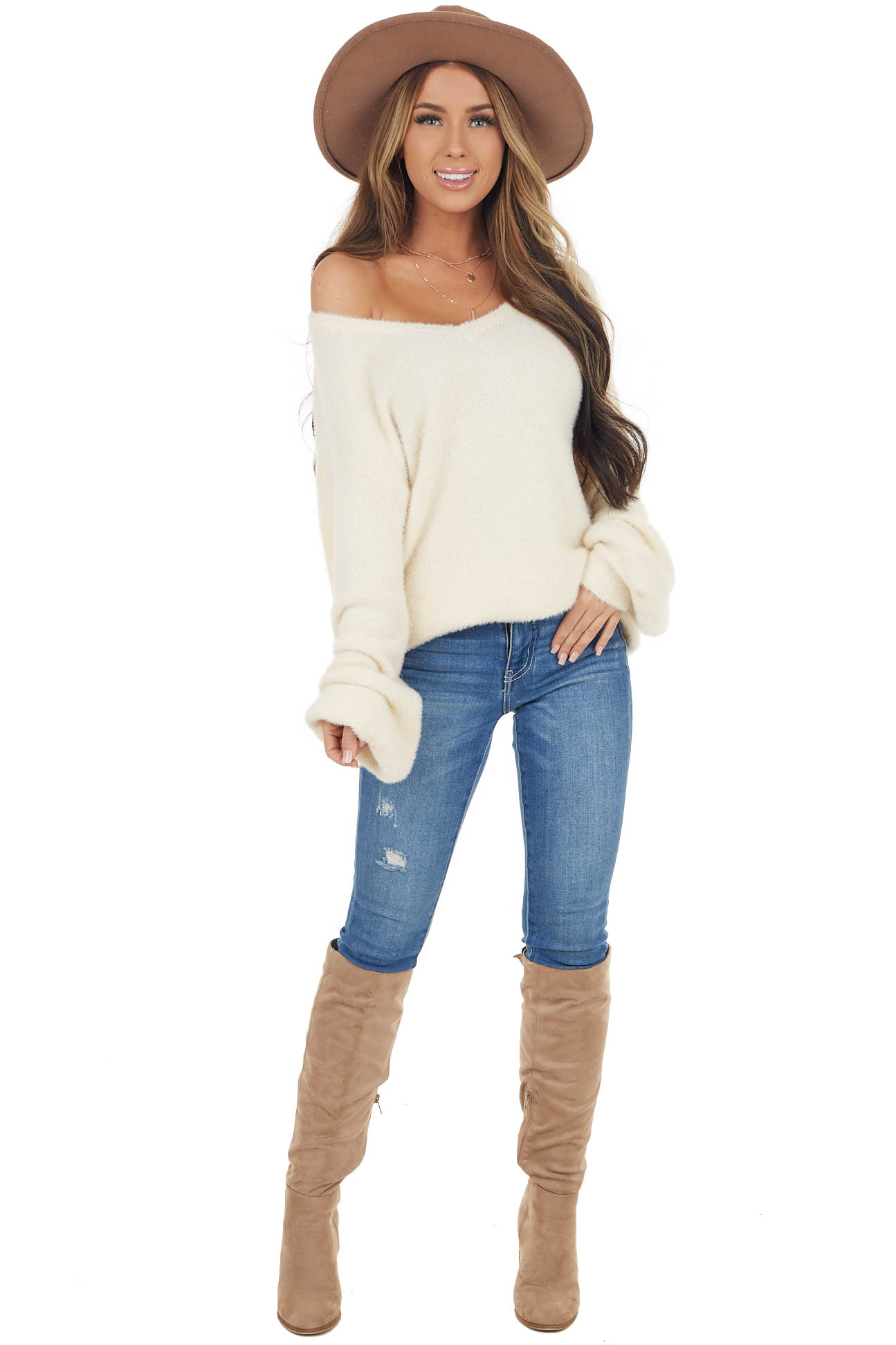 Cream Soft Fuzzy V Neck Sweater with Long Bubble Sleeves