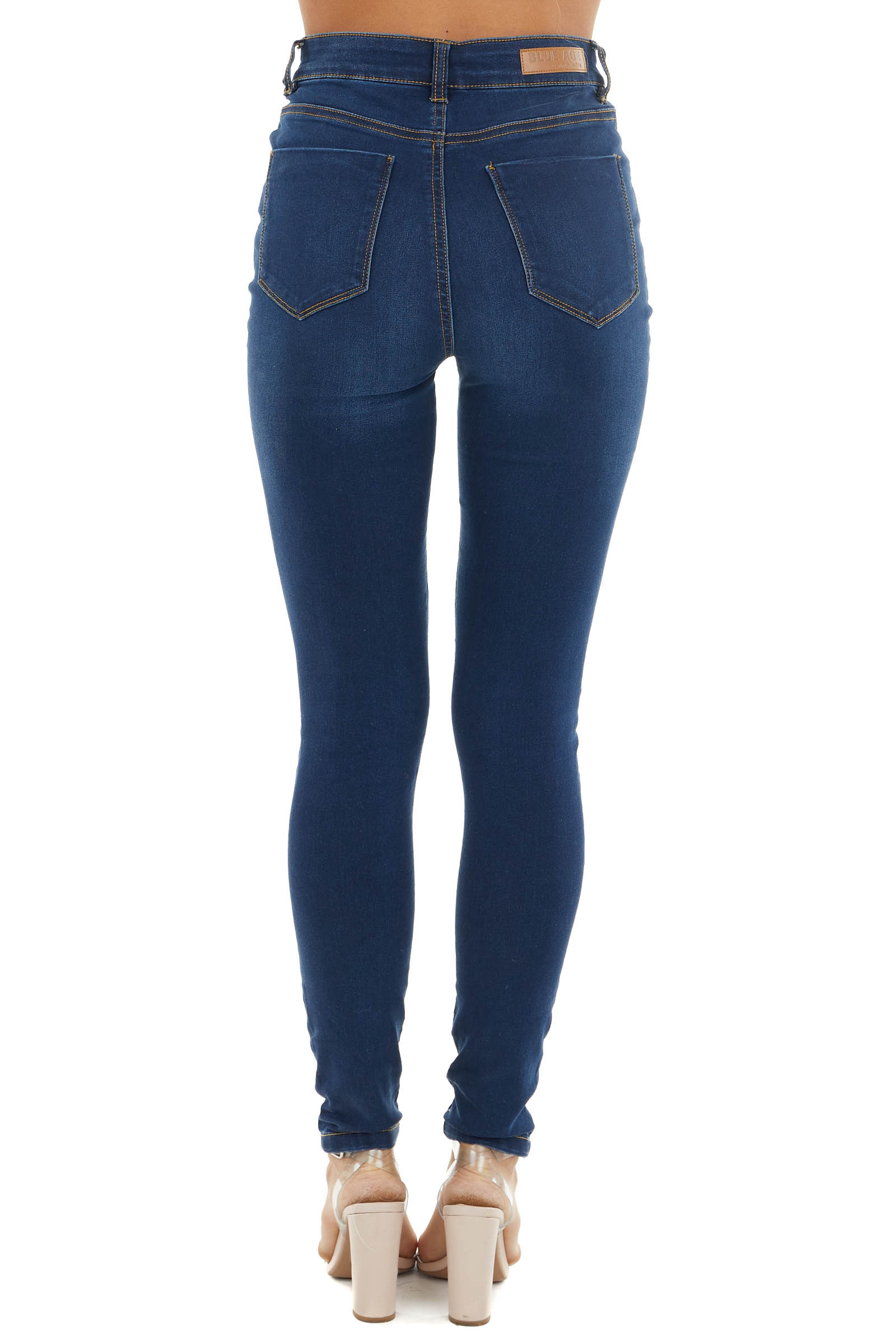 Dark Wash High Rise Denim Skinny Jeans with Knee Slits