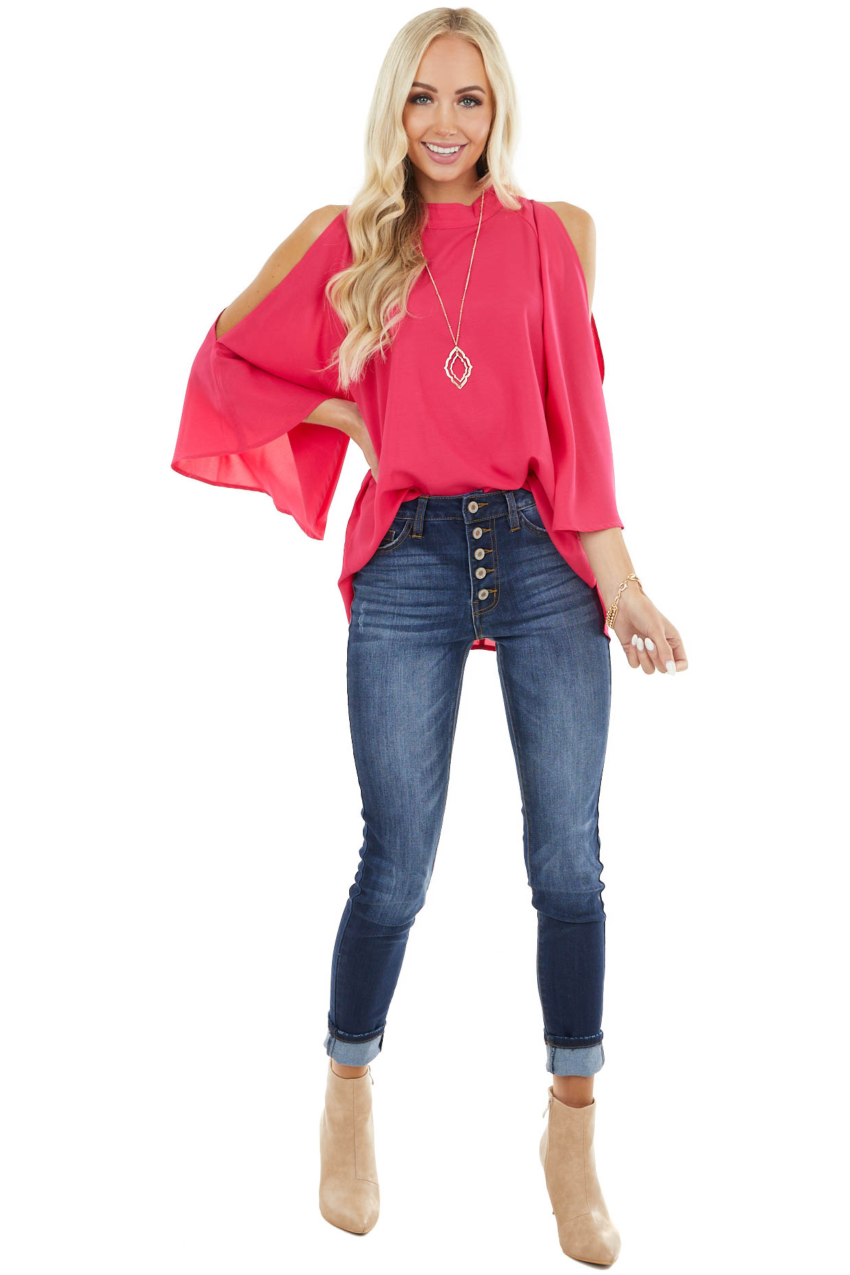 Hot Pink Mock Neckline Top with Cold Shoulder Slits