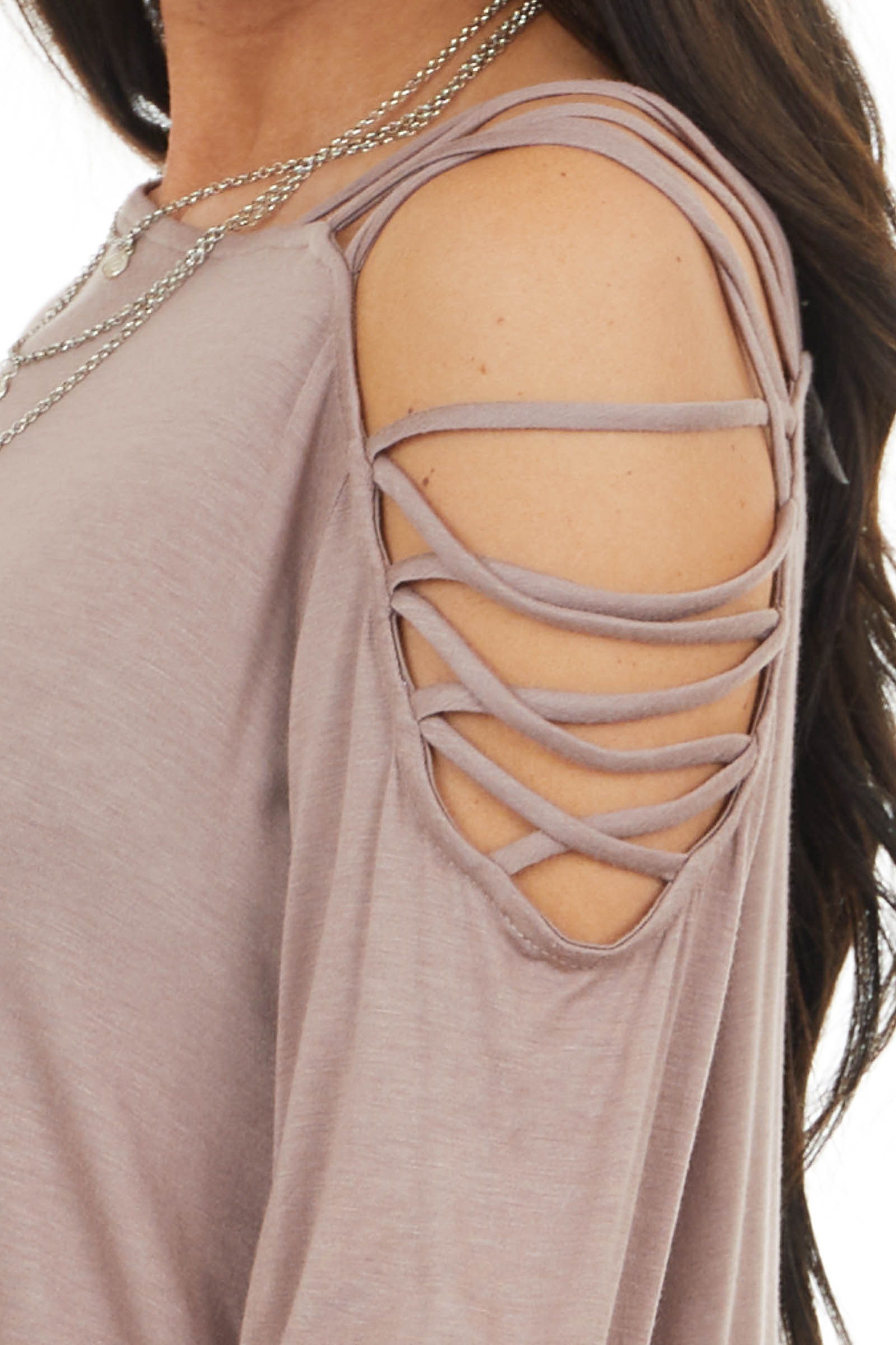 Taupe Long Sleeve Knit Top with Ladder Detail