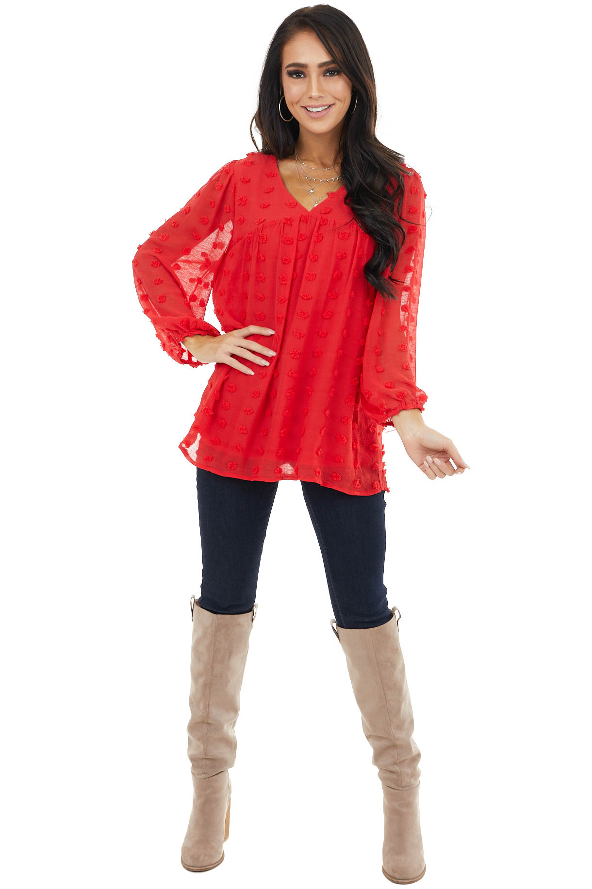 Crimson Swiss Dot Babydoll Top with Long Bubble Sleeves