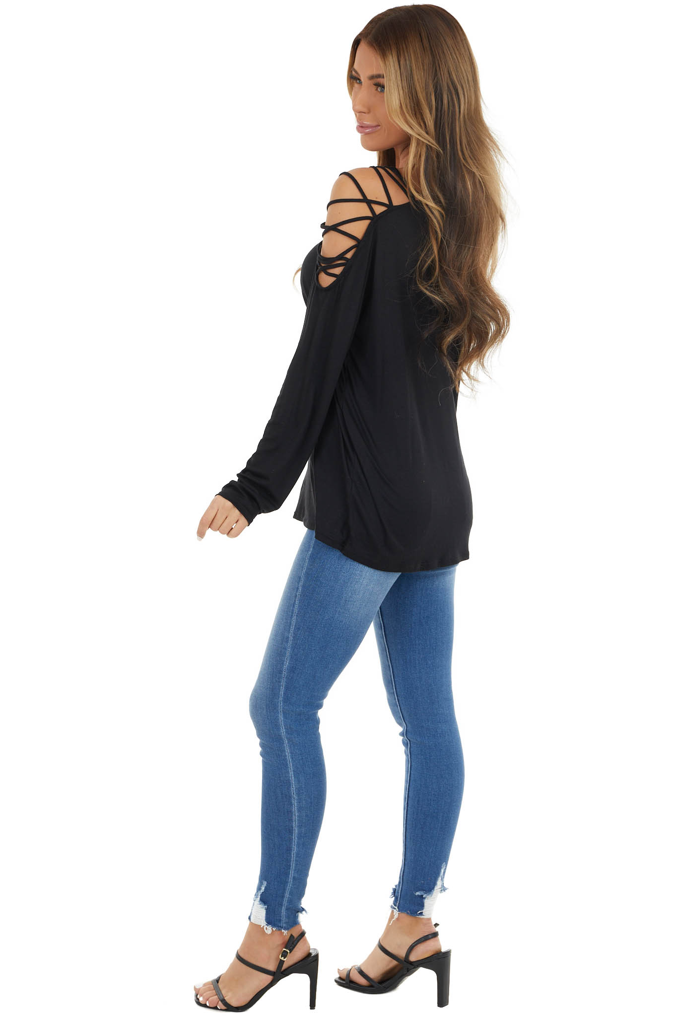 Black Long Sleeve Knit Top with Ladder Detail