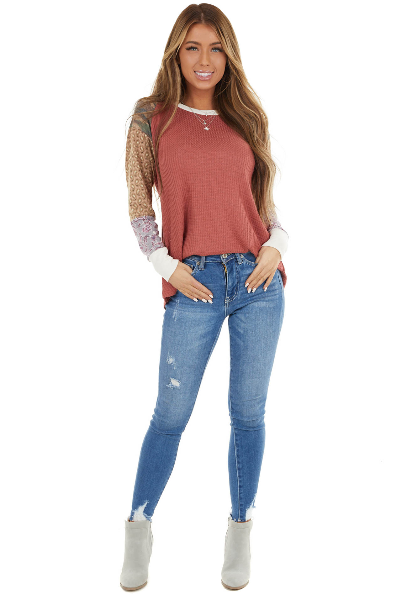 Faded Red Waffle Knit Top with Contrast Multiprint Sleeves
