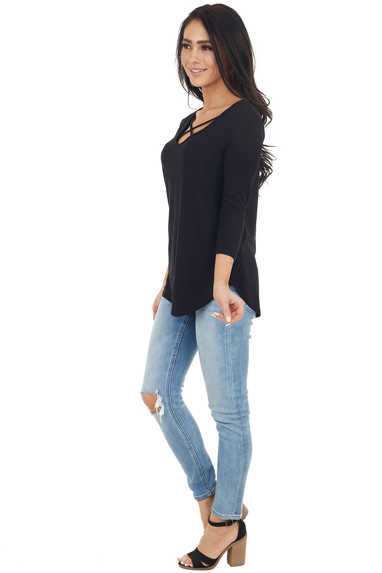 Black 3/4 Sleeve Knit Top with Criss Cross Details