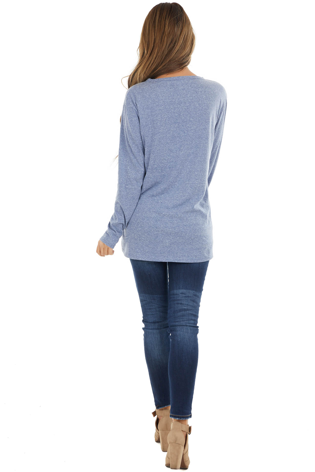 Heathered Dusty Blue Long Sleeve Top with V Cutout Detail