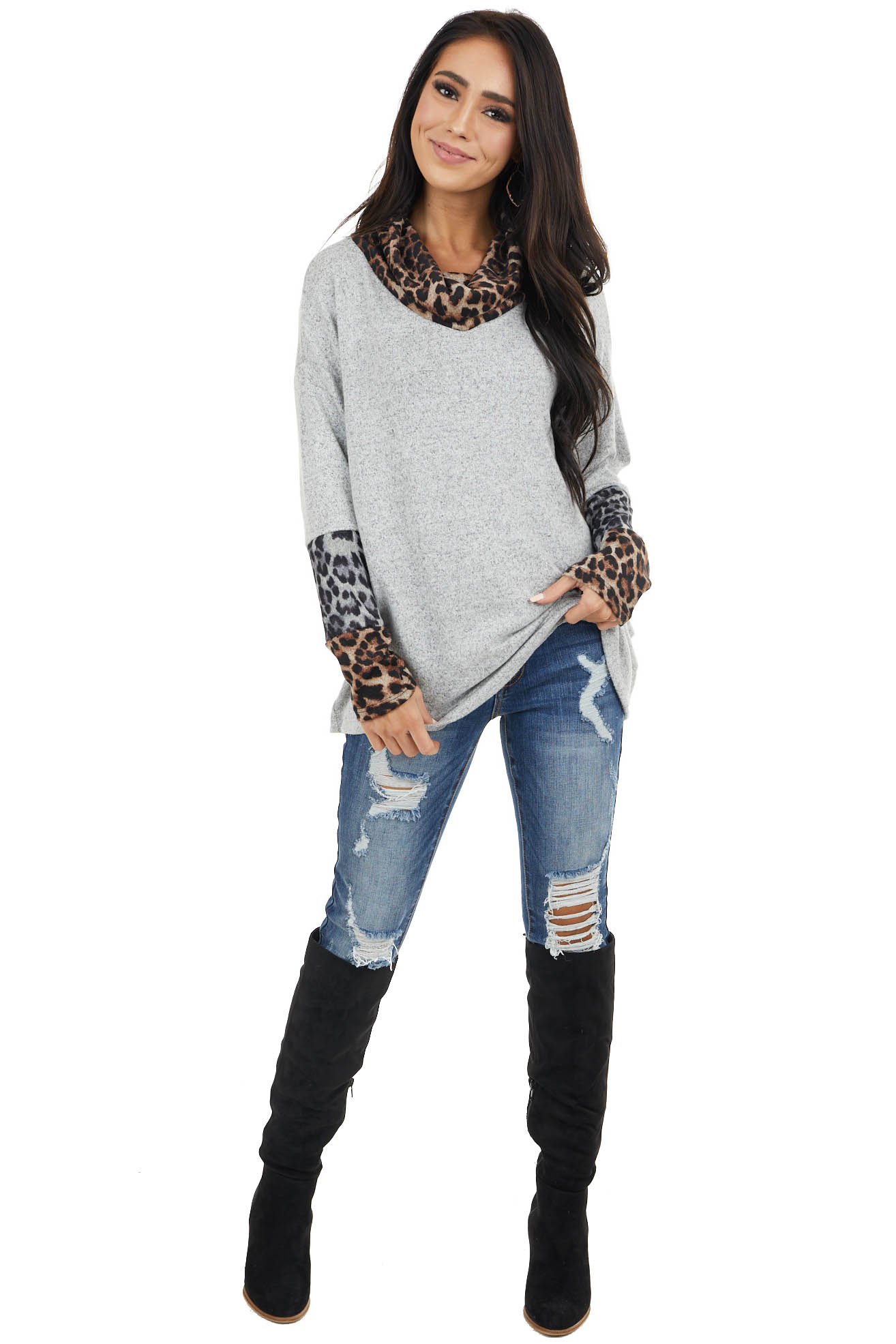 Heather Grey Leopard Print Long Sleeve Top with Cowl Neck