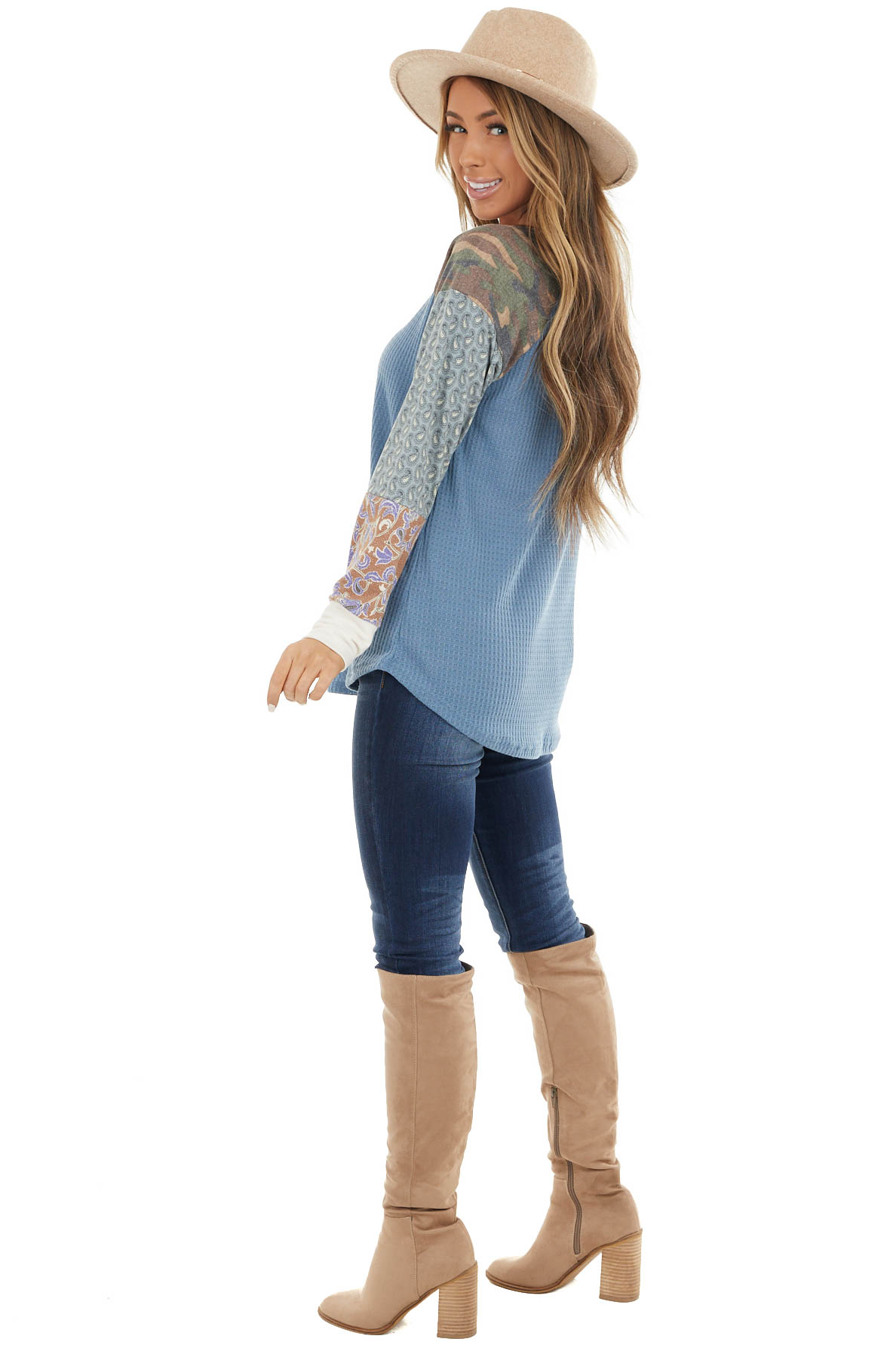 Deep Blue Waffle Knit Top with Contrast Multiprint Sleeves