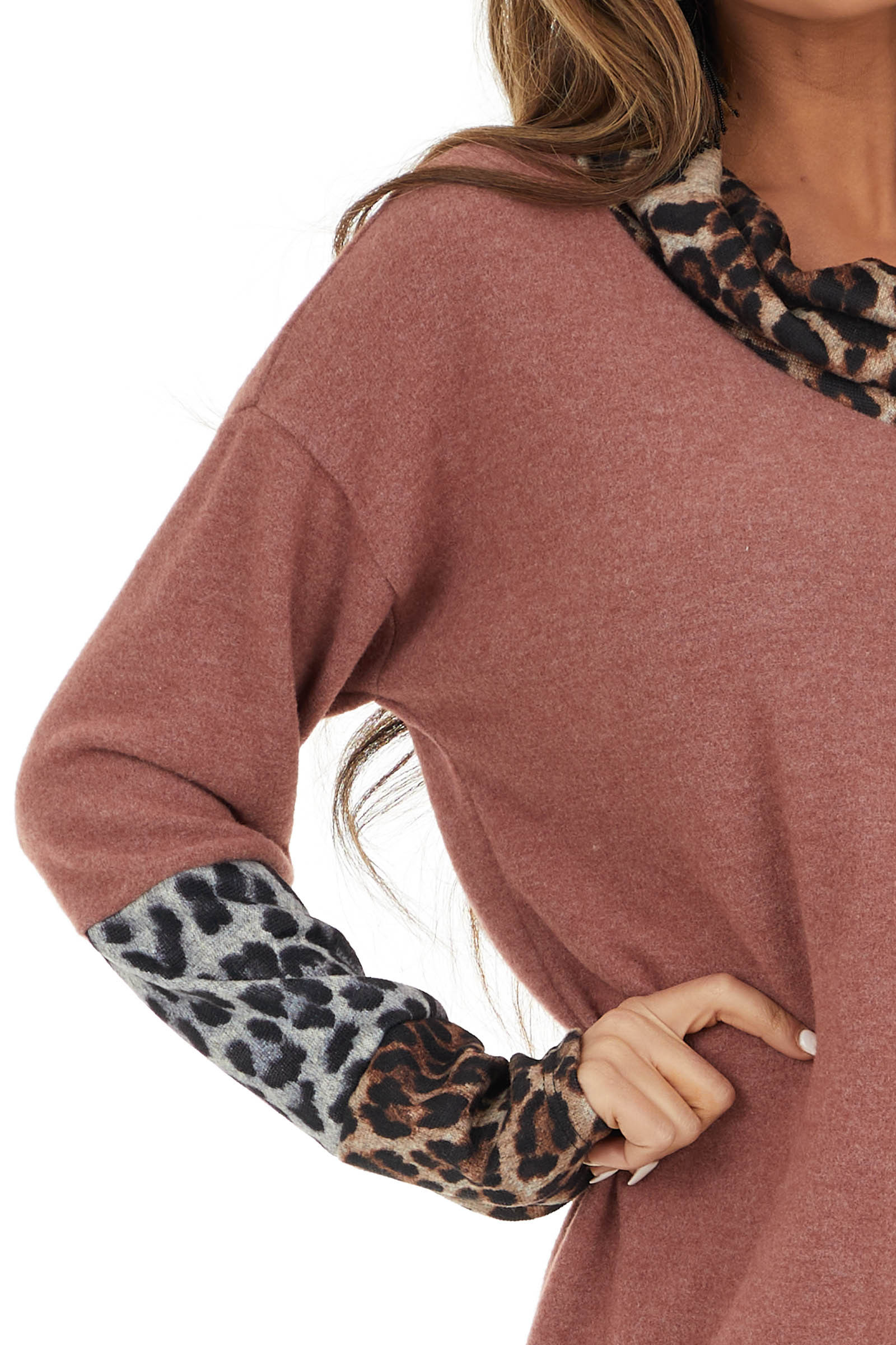 Marsala Leopard Print Long Sleeve Top with Cowl Neck
