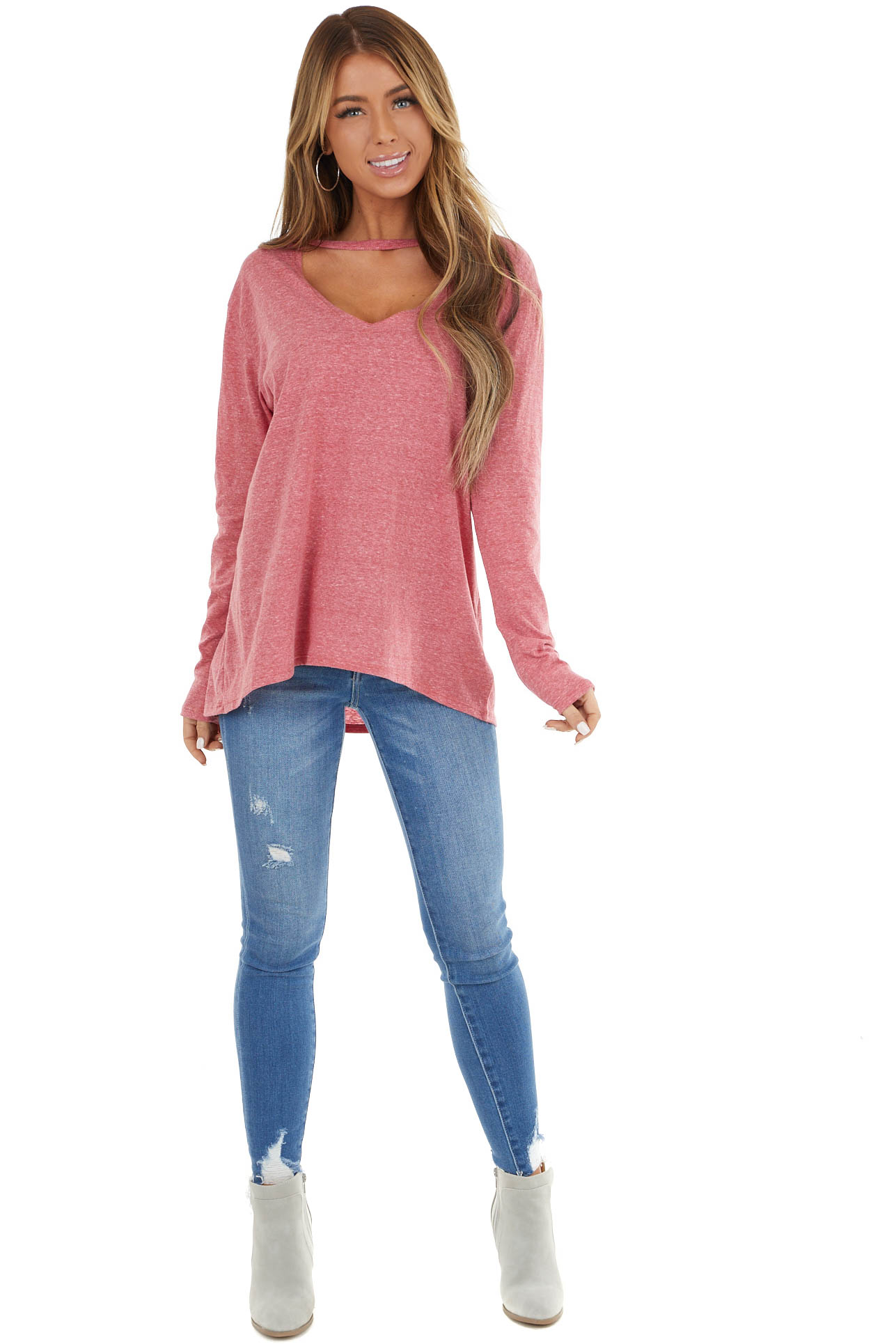 Heathered Lipstick Red Long Sleeve Top with V Cutout Detail