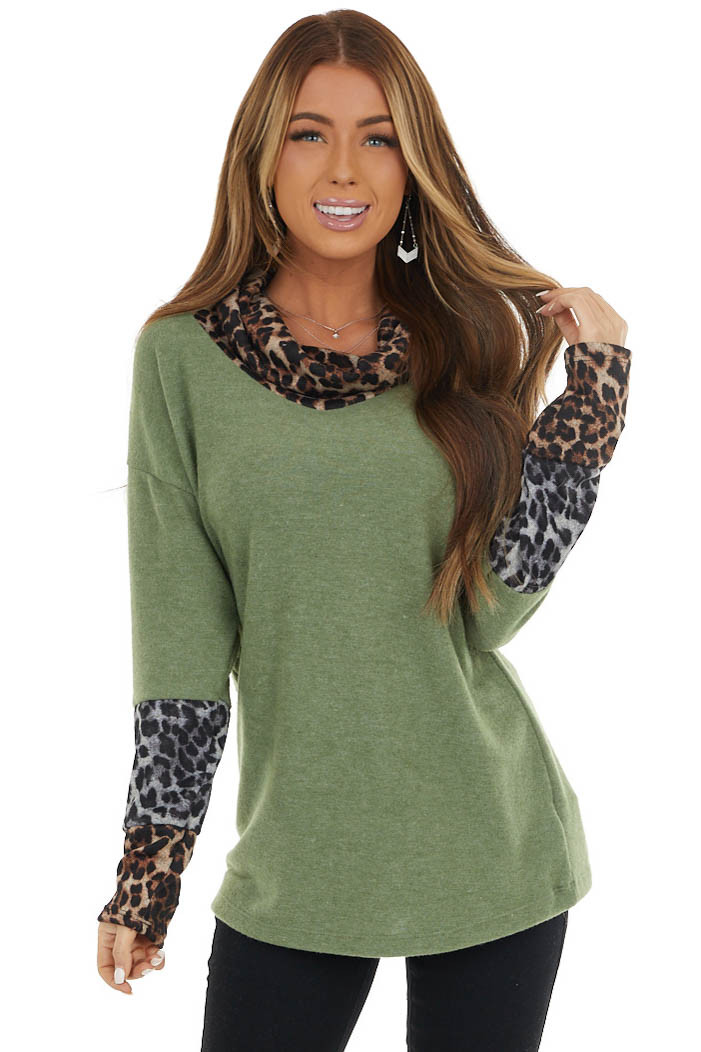 Sage Leopard Print Long Sleeve Top with Cowl Neck