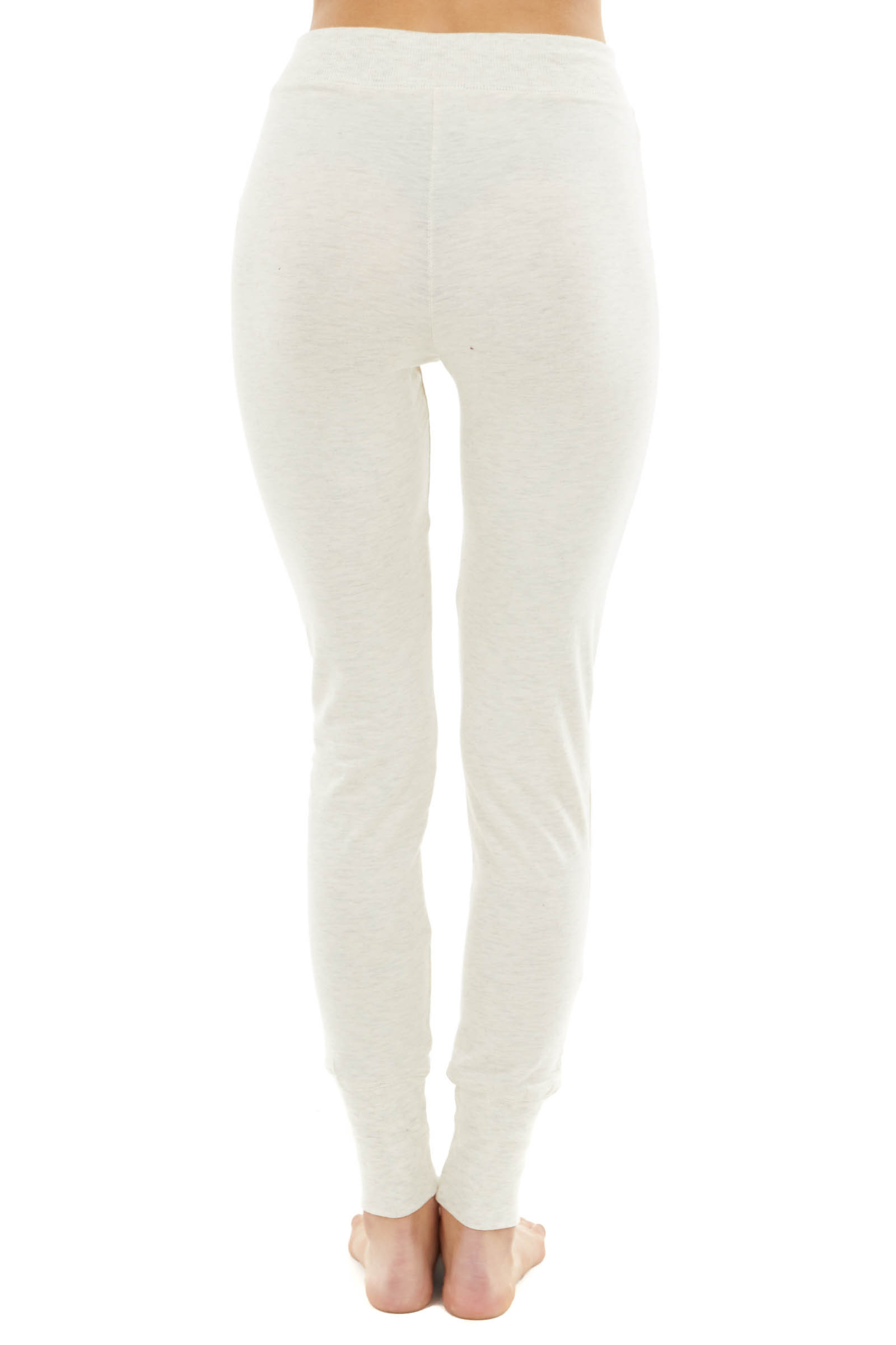 Heathered Oatmeal Stretchy Knit Lightweight Fitted Joggers