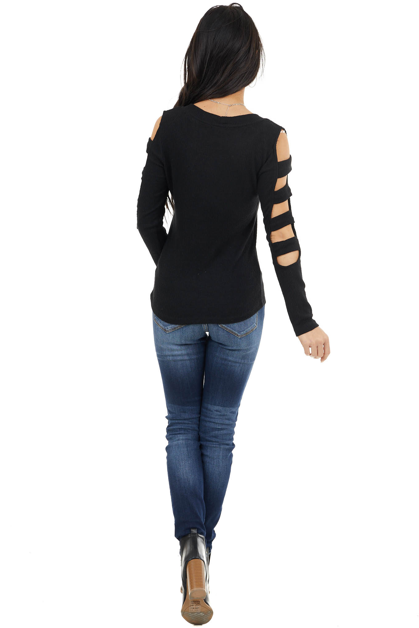 Black Ribbed Knit Fitted Top with Sleeve Cutout Details