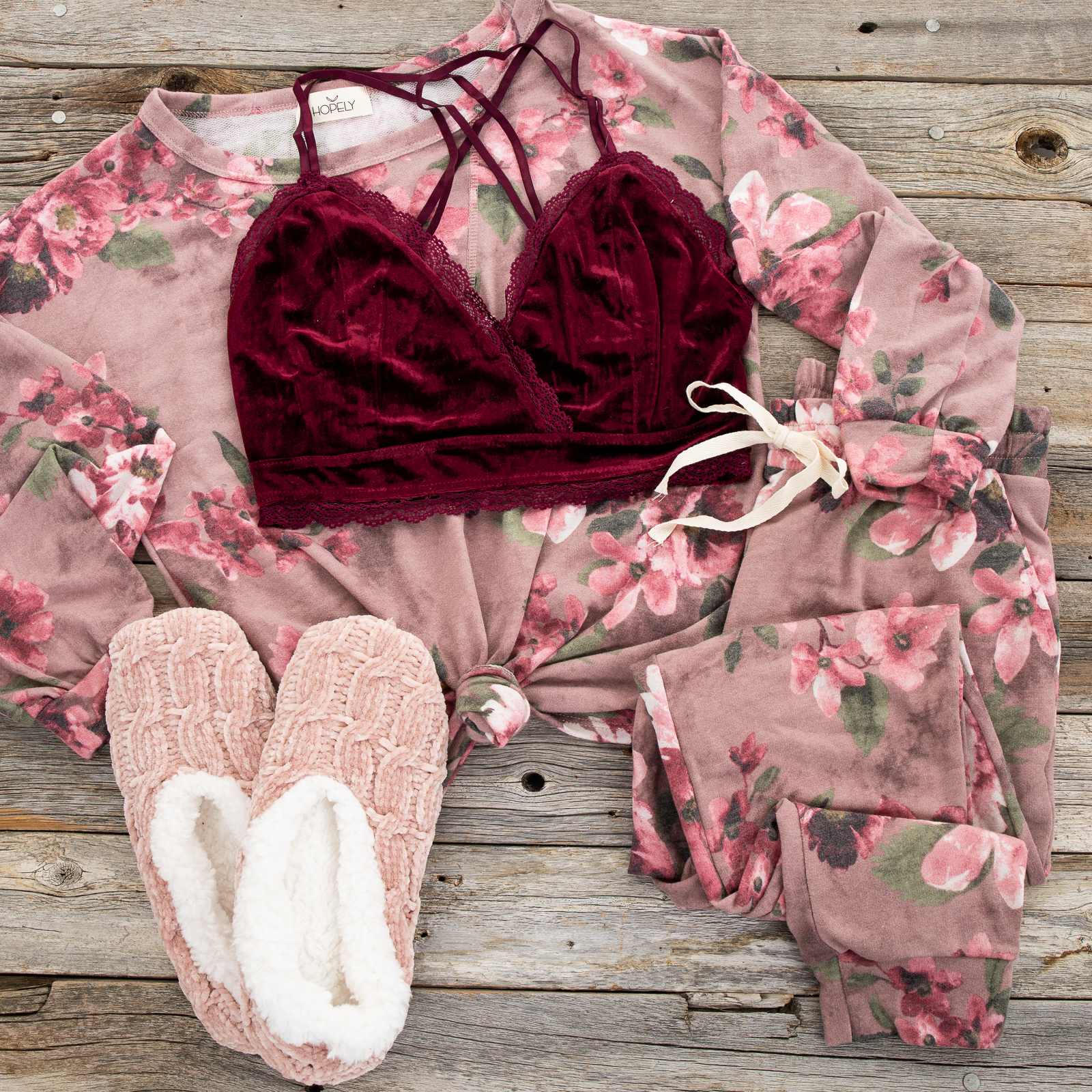 Deep Maroon Velvet and Lace Bralette with Criss Cross Straps