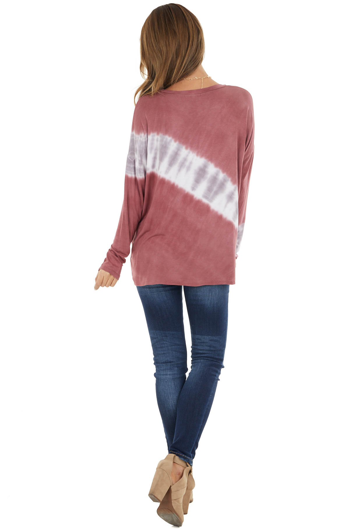 Marsala and Mauve Tie Dye Print Long Sleeve Knit Top