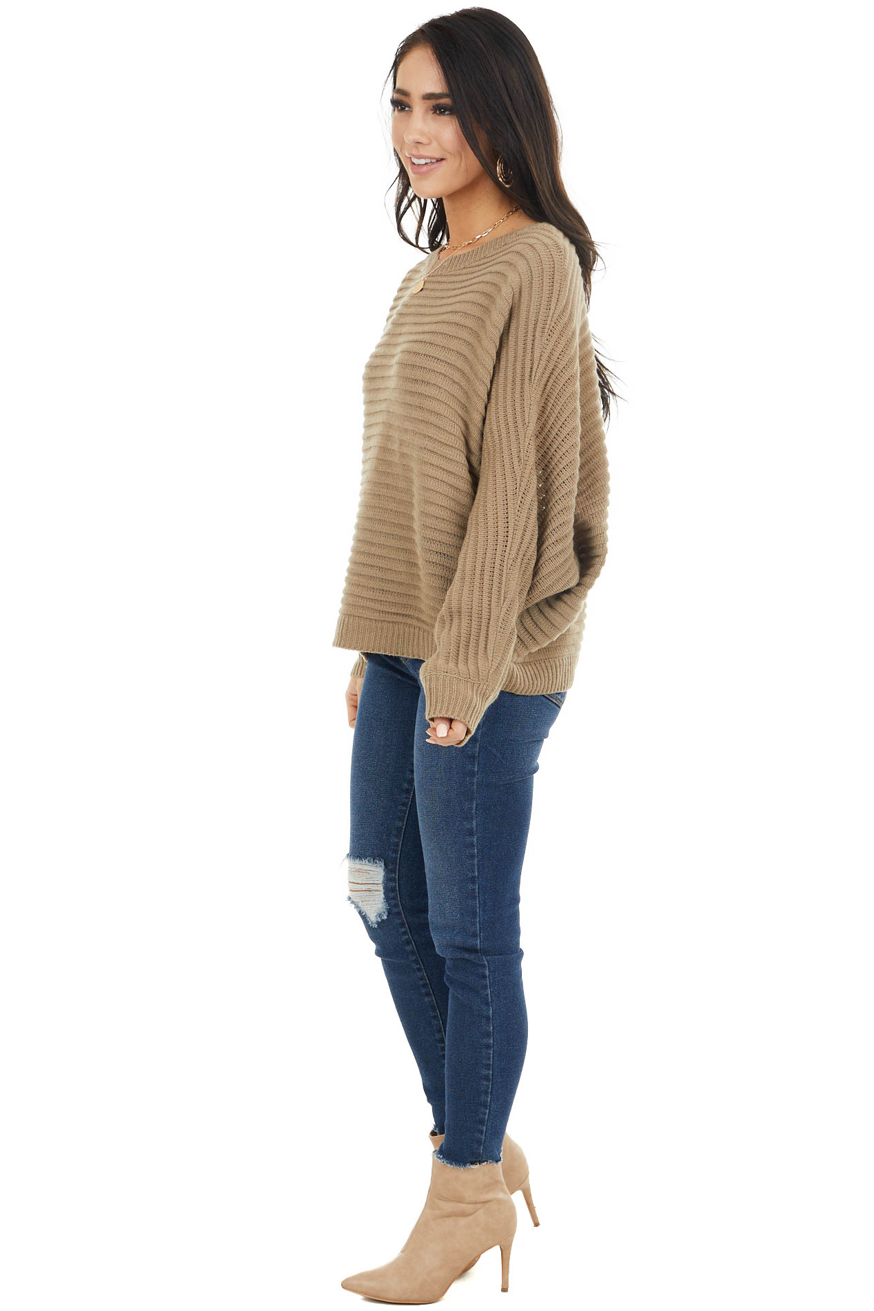 Hazel Textured Ribbed Sweater with Long Dolman Sleeves