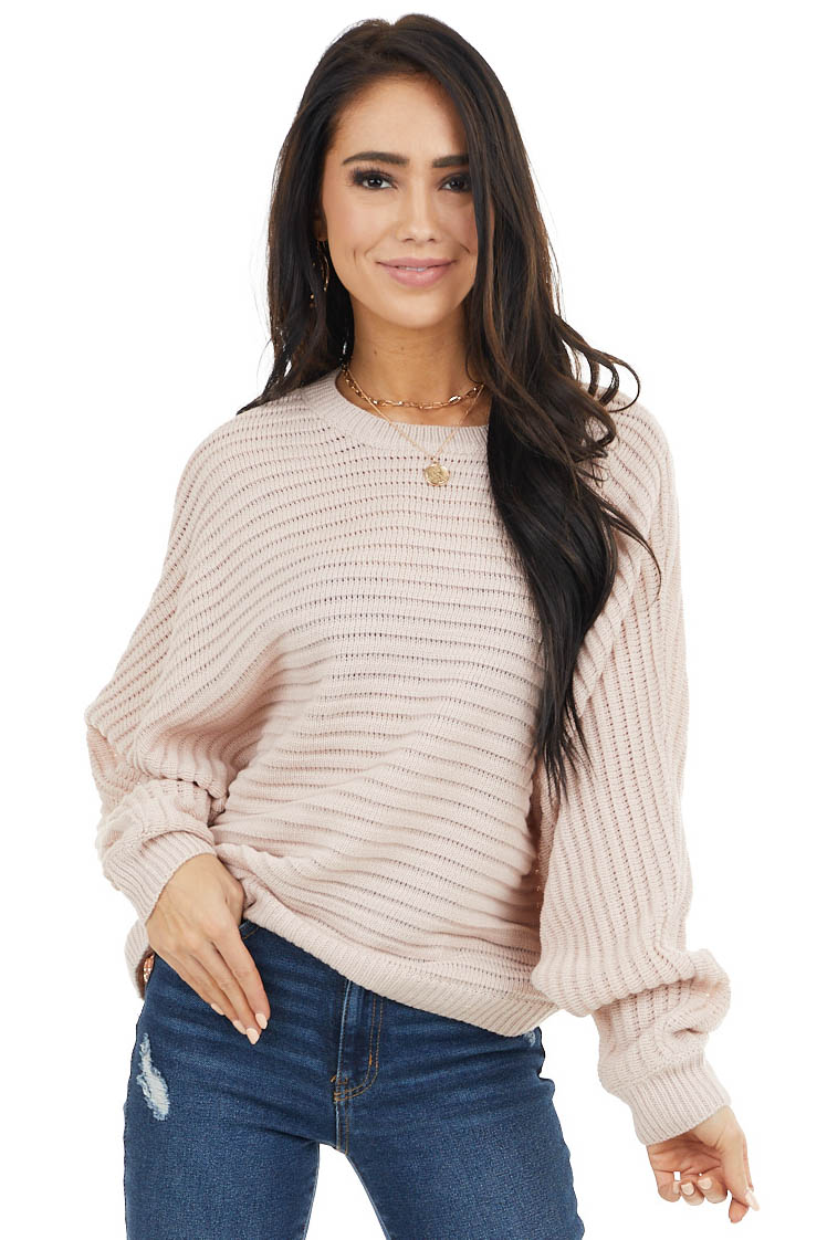 Blush Textured Ribbed Sweater with Long Dolman Sleeves