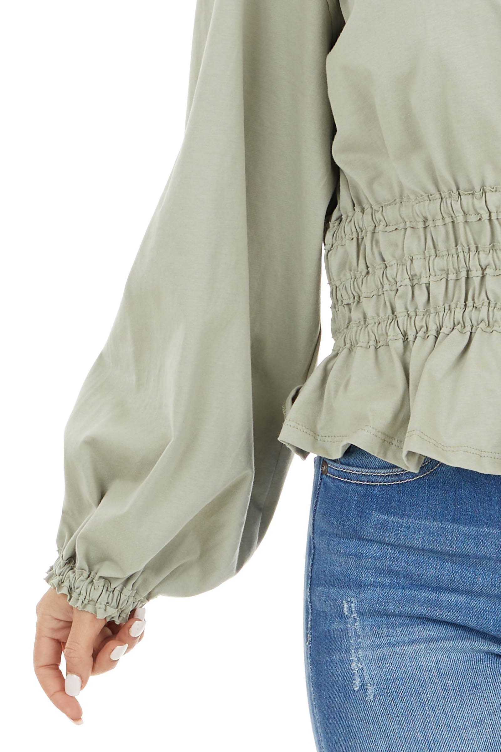 Sage Smocked Waist Ruffle Hem Top with Bubble Sleeves