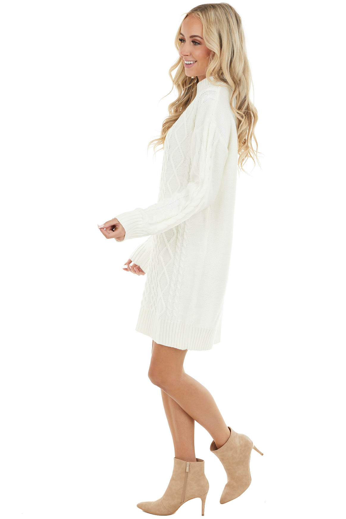 Cream Short Cable Knit Sweater Dress with Mock Neck