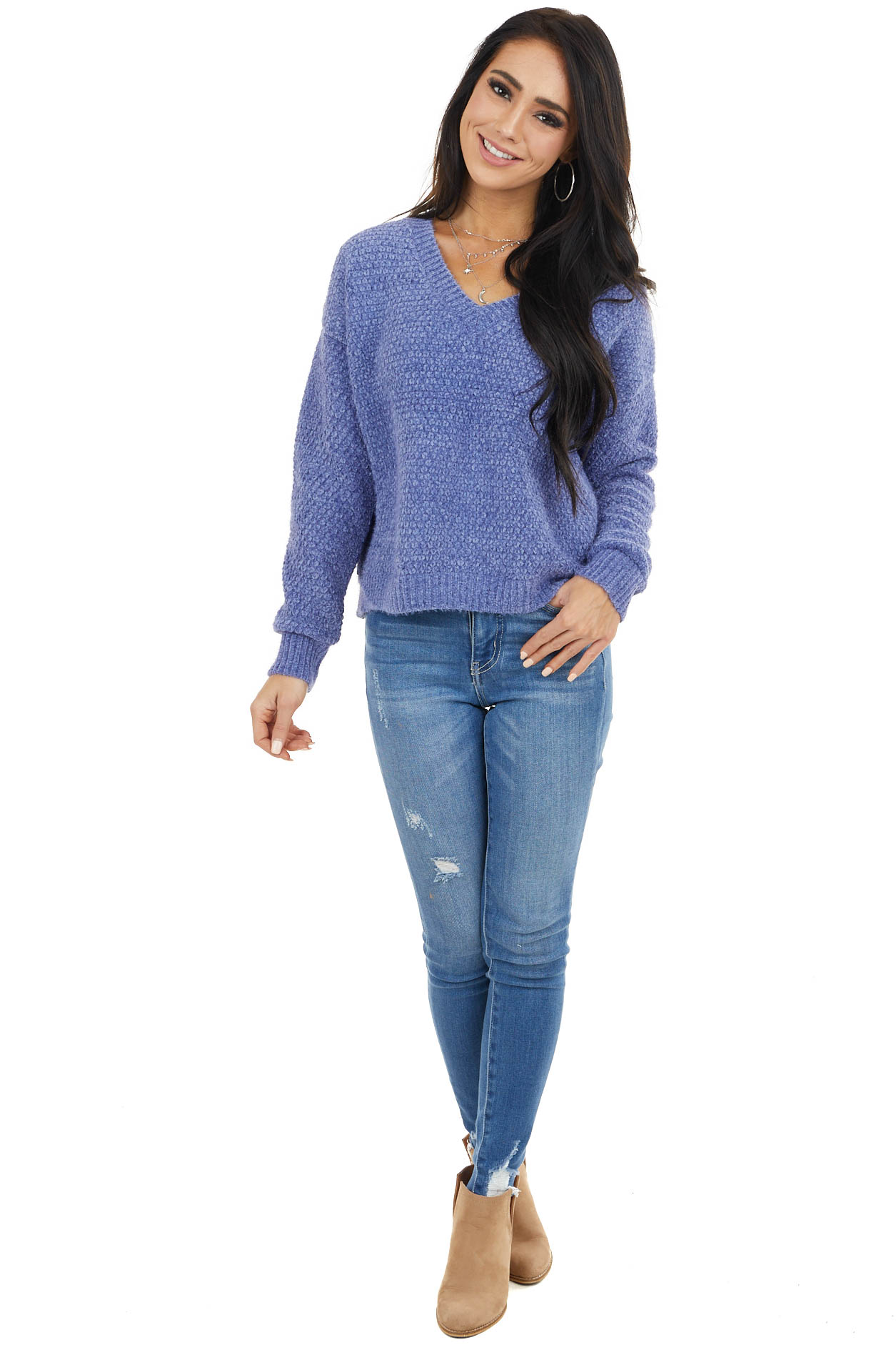 Dusty Blue Two Tone Slightly Cropped Sweater with V Neck