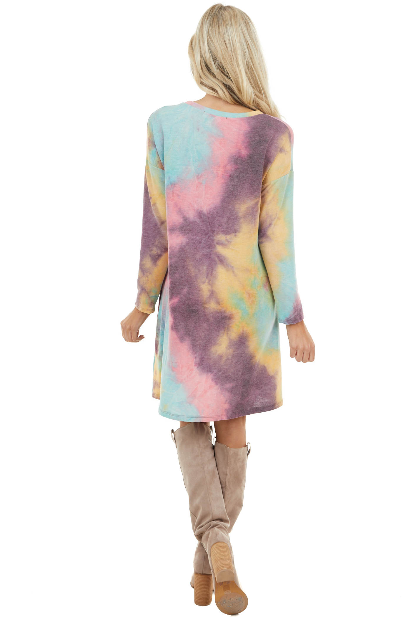 Multicolor Tie Dye Knit Dress with Front Pocket Detail
