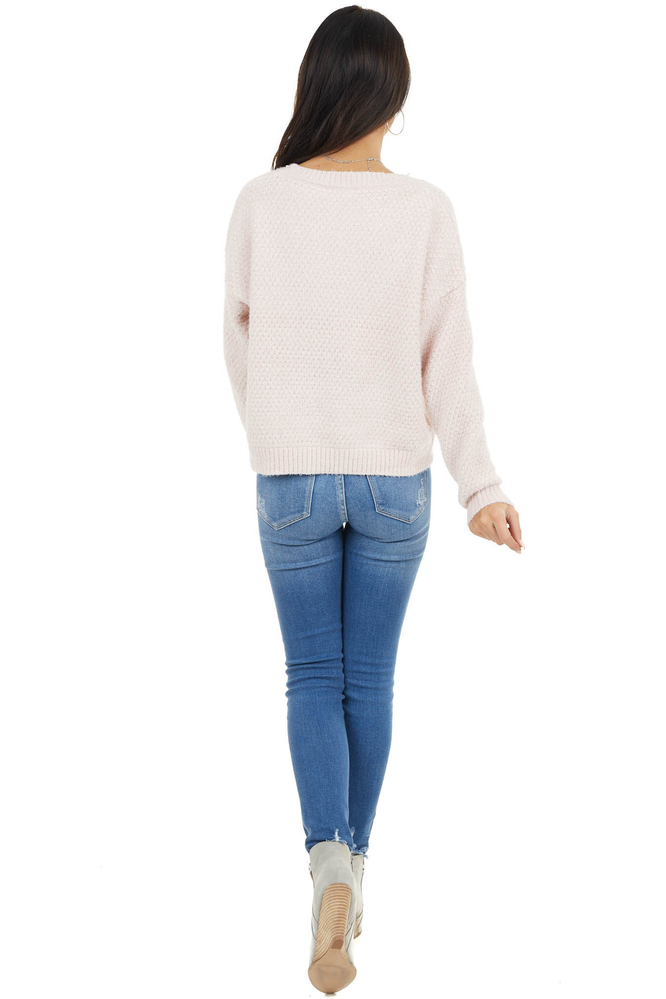 Blush Two Tone Knit Slightly Cropped Sweater with V Neck