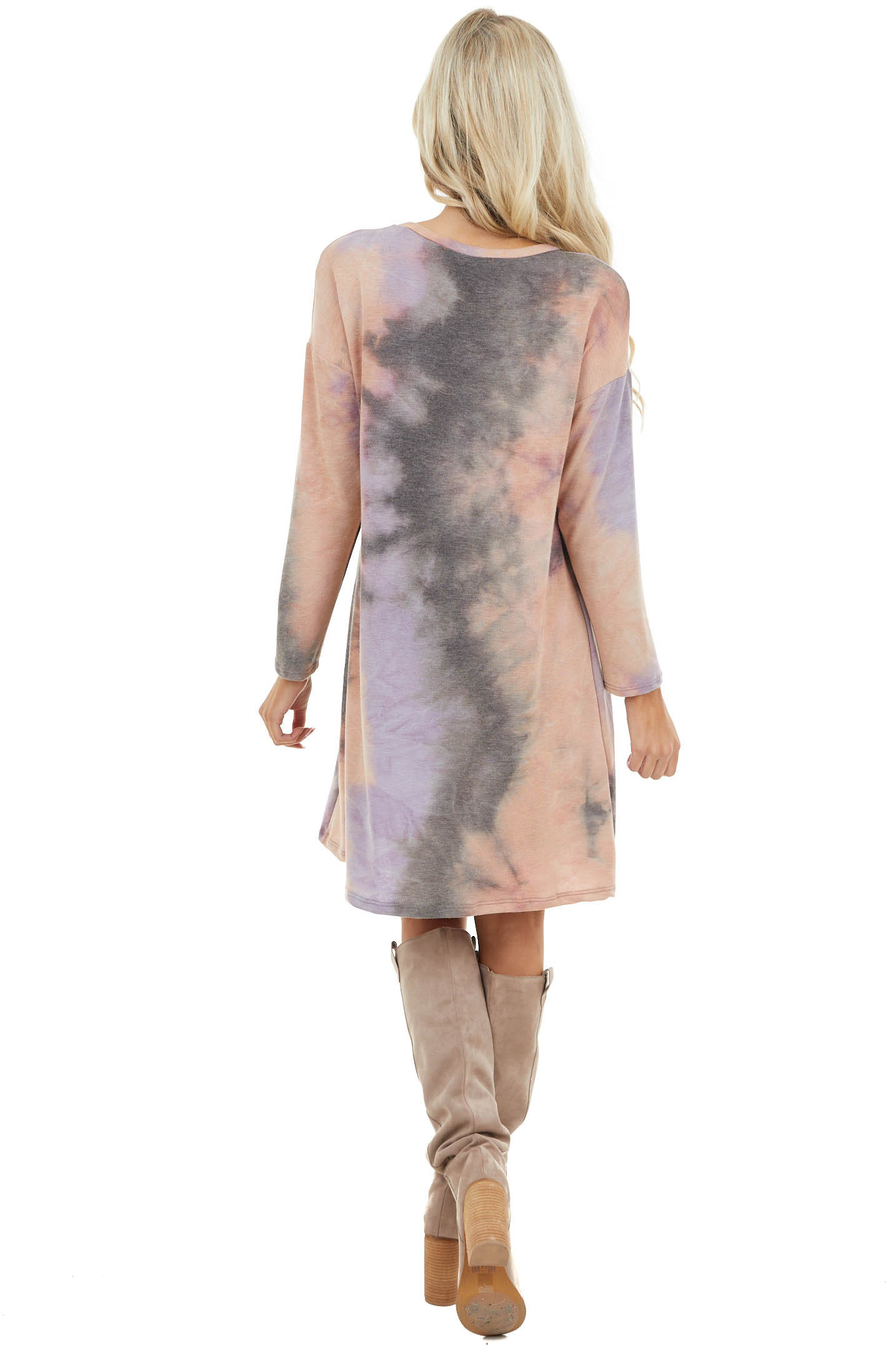 Lavender and Peach Tie Dye Dress with Front Pocket Detail