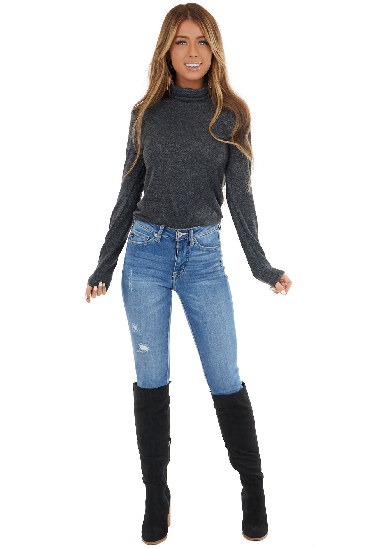 Heathered Black Fitted Long Sleeve Top with Turtleneck
