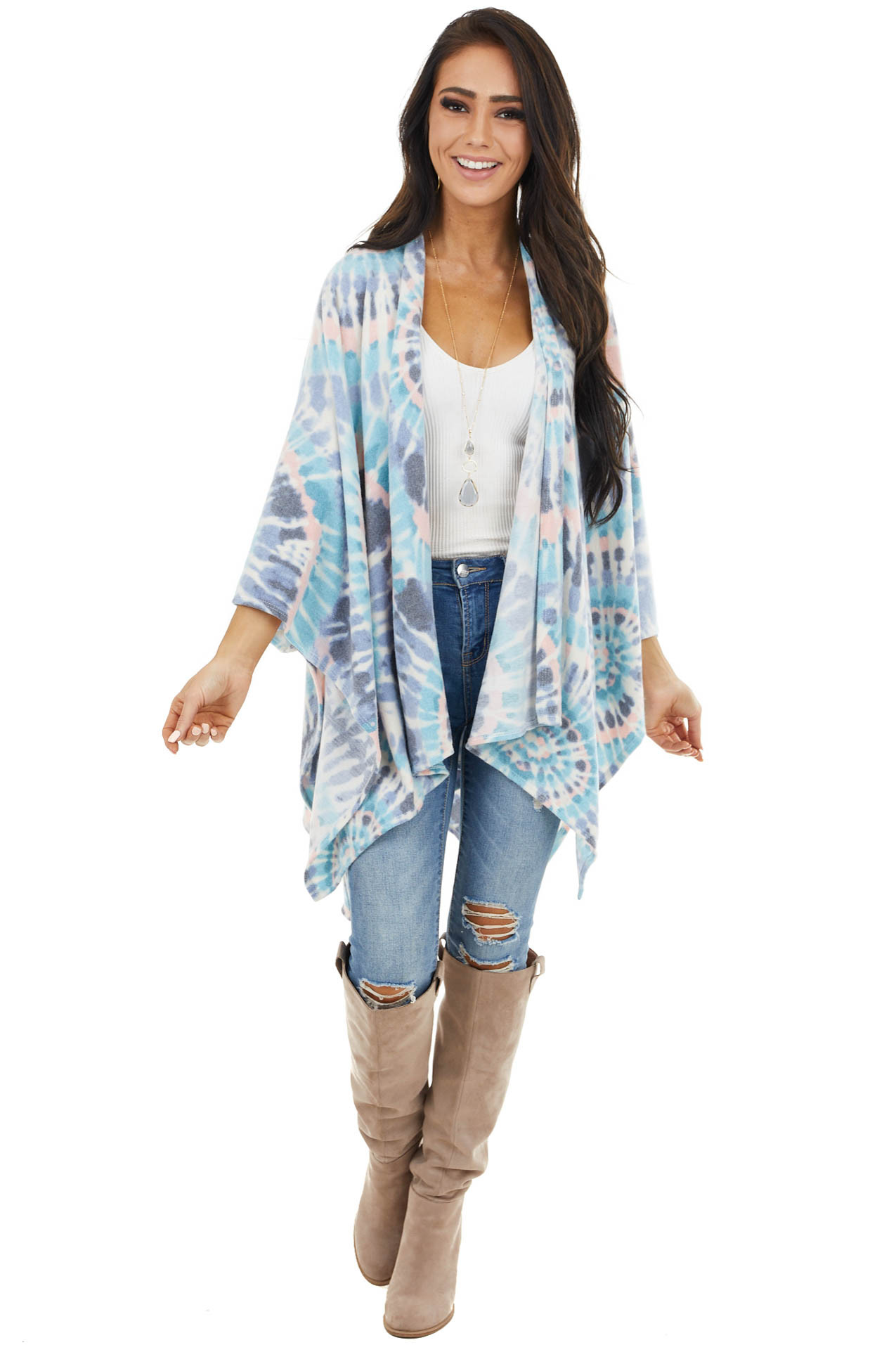 Sky Blue and Blush Tie Dye Poncho with Open Front