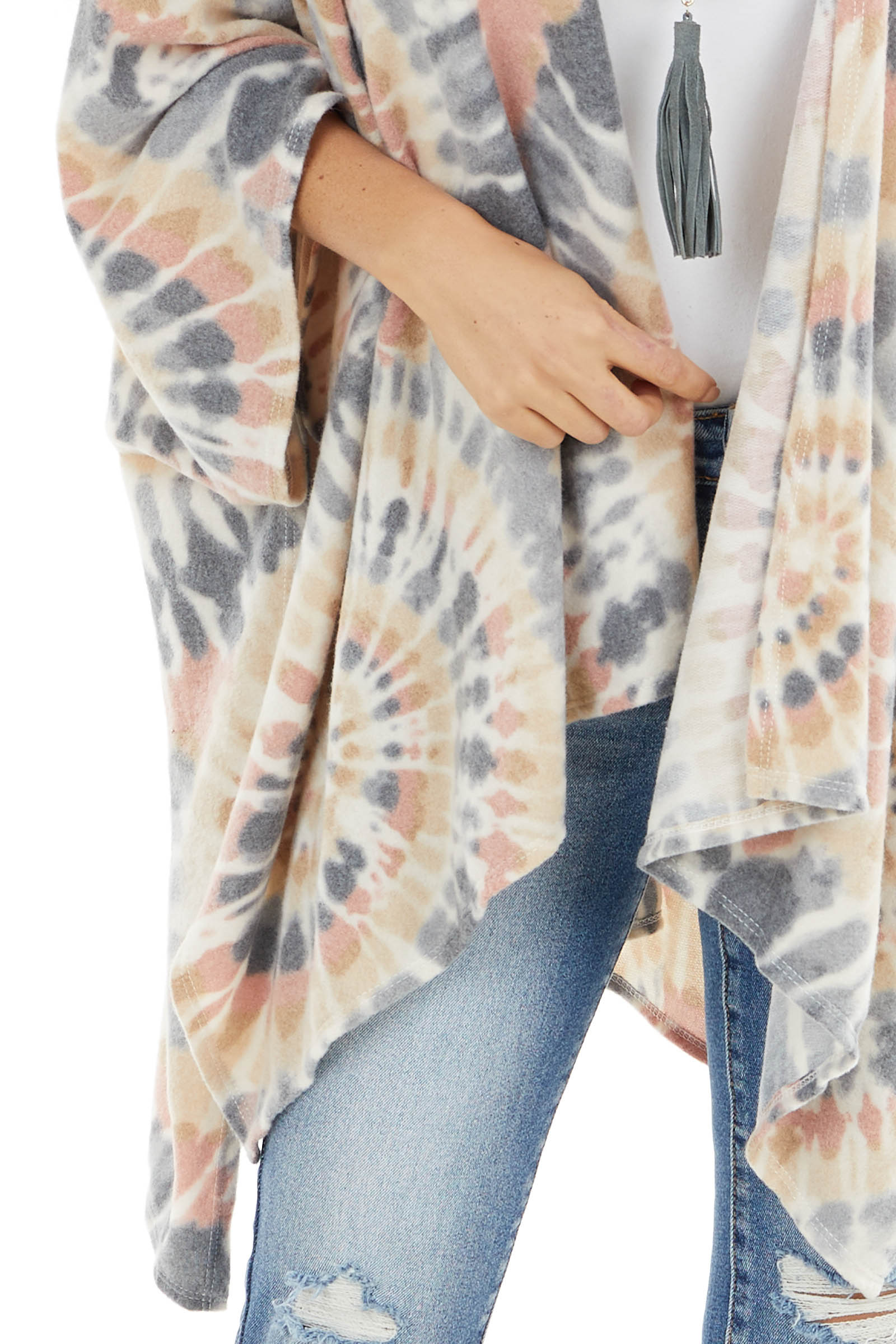 Cream and Dusty Blush Tie Dye Poncho with Open Front