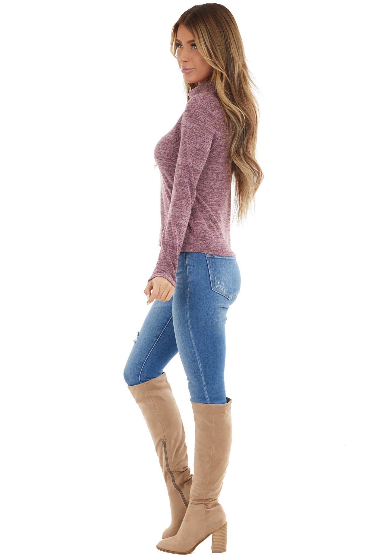 Heathered Mauve Fitted Long Sleeve Top with Turtleneck