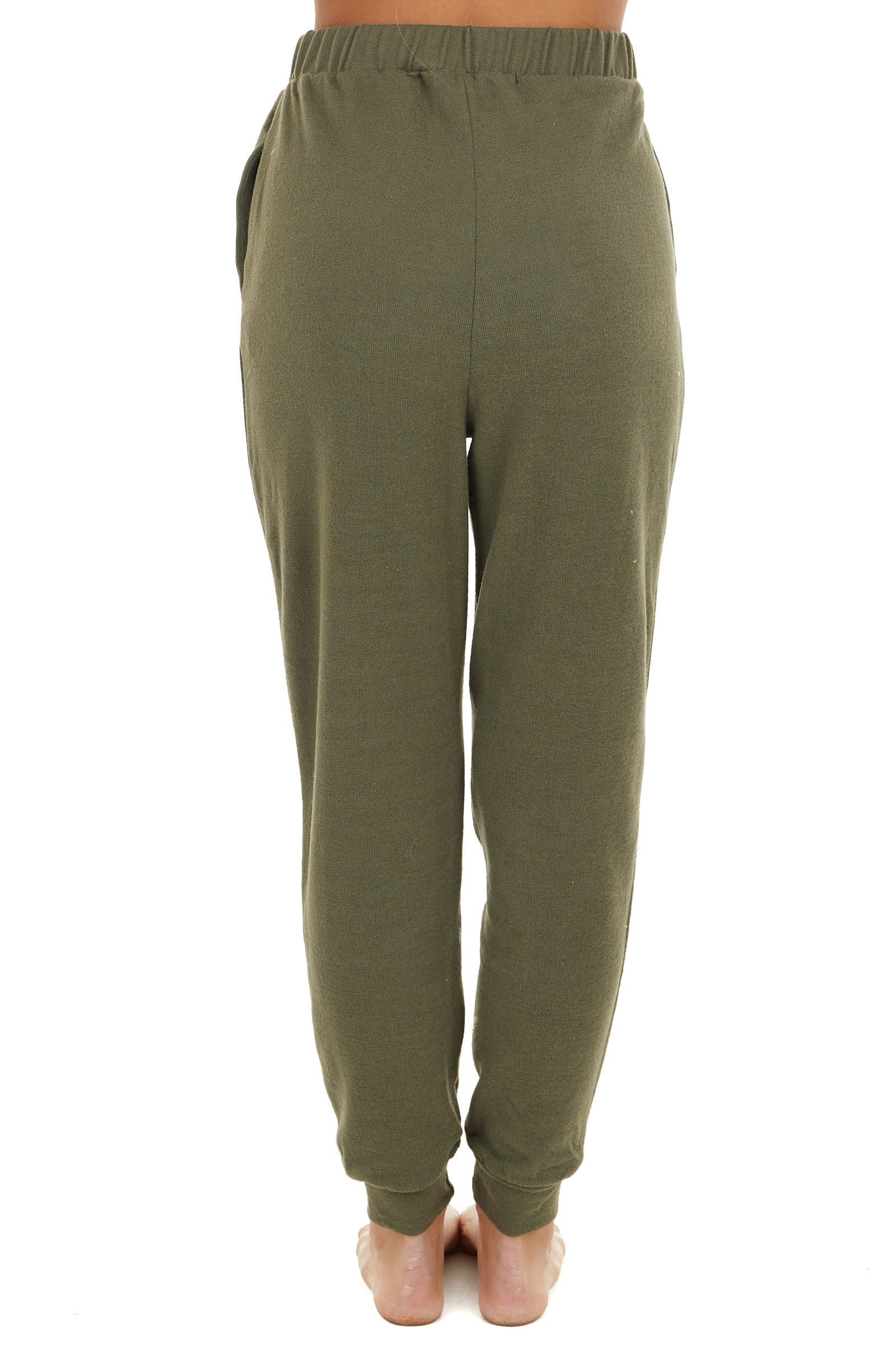Olive Lightweight Stretchy Knit Joggers with Elastic Waist