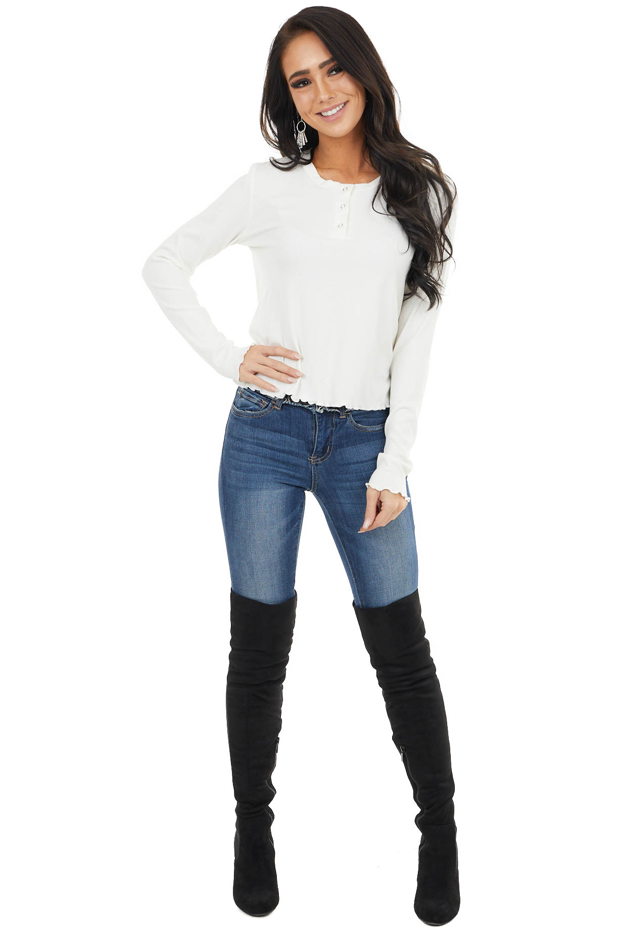 Ivory Ribbed Knit Top with Front Snap Closure Details