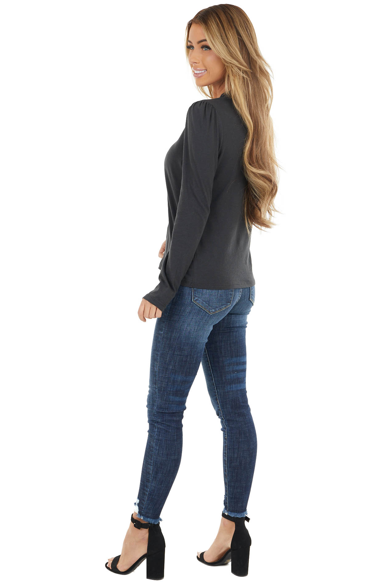 Black Mock Neck Top with Long Sleeves and Puffy Shoulders