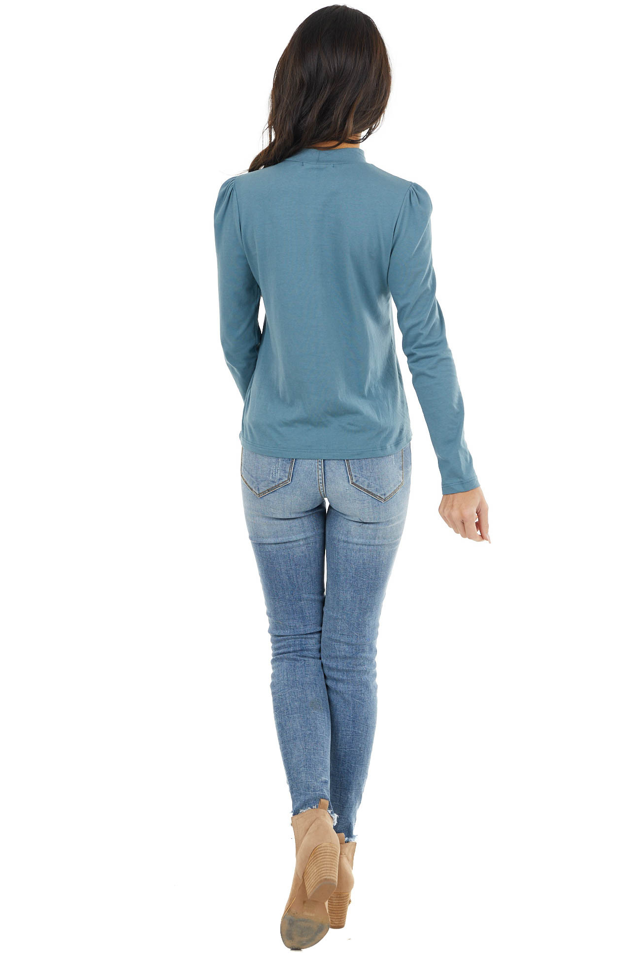 Teal Mock Neck Top with Long Sleeves and Puffy Shoulders