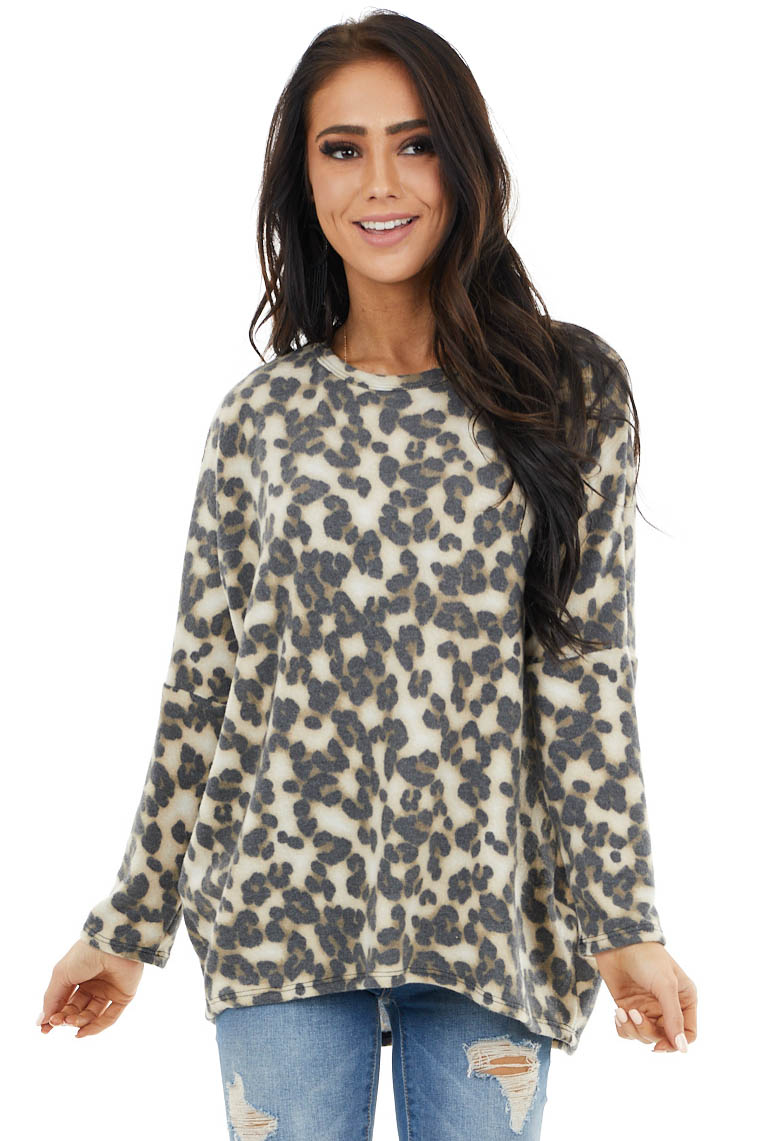 Beige and Charcoal Leopard Print Oversized Soft Knit Top