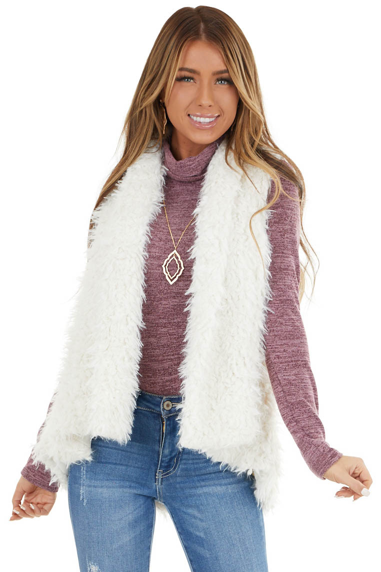 Ivory Faux Fur Woven Vest with Draped Collar Detail