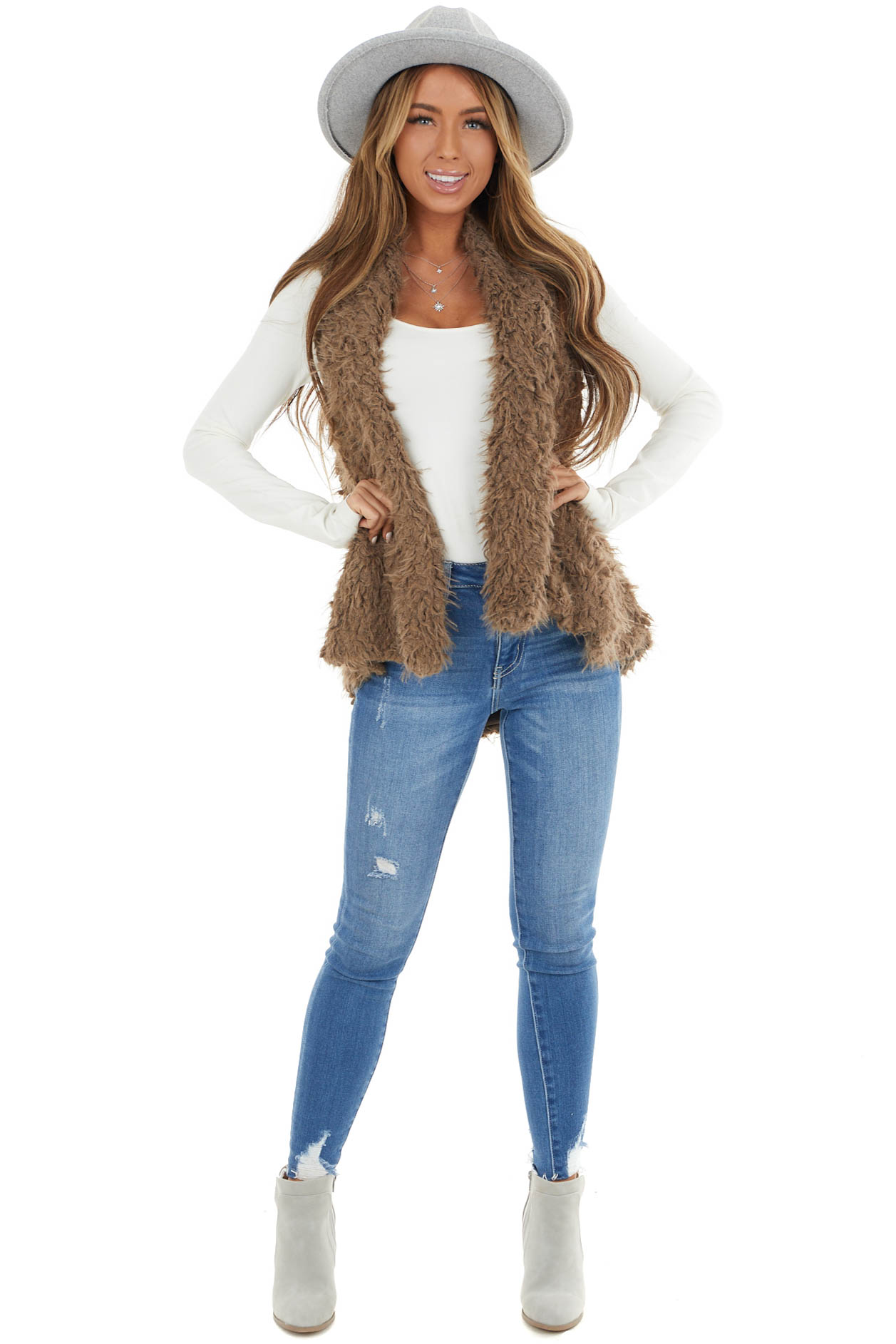 Cocoa Faux Fur Woven Vest with Draped Collar Detail