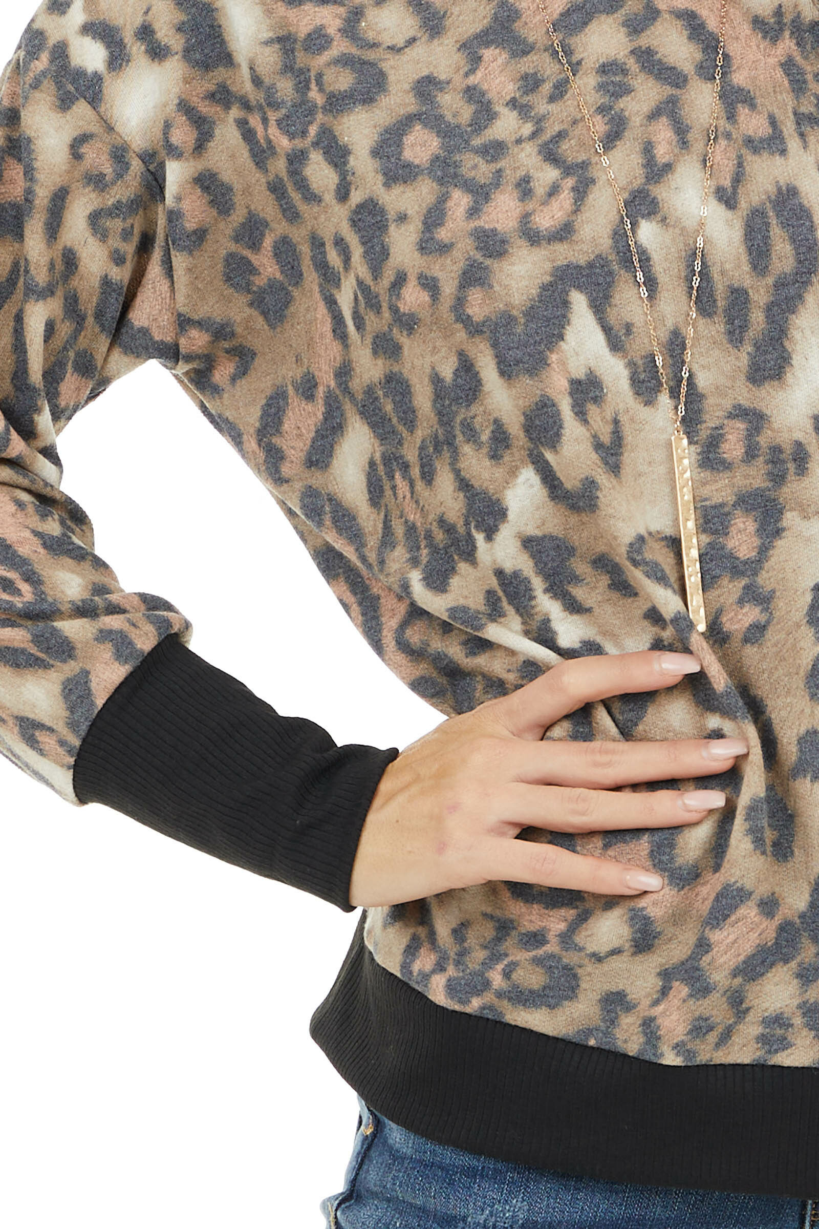 Khaki and Peach Leopard Print Oversized Mock Neck Top