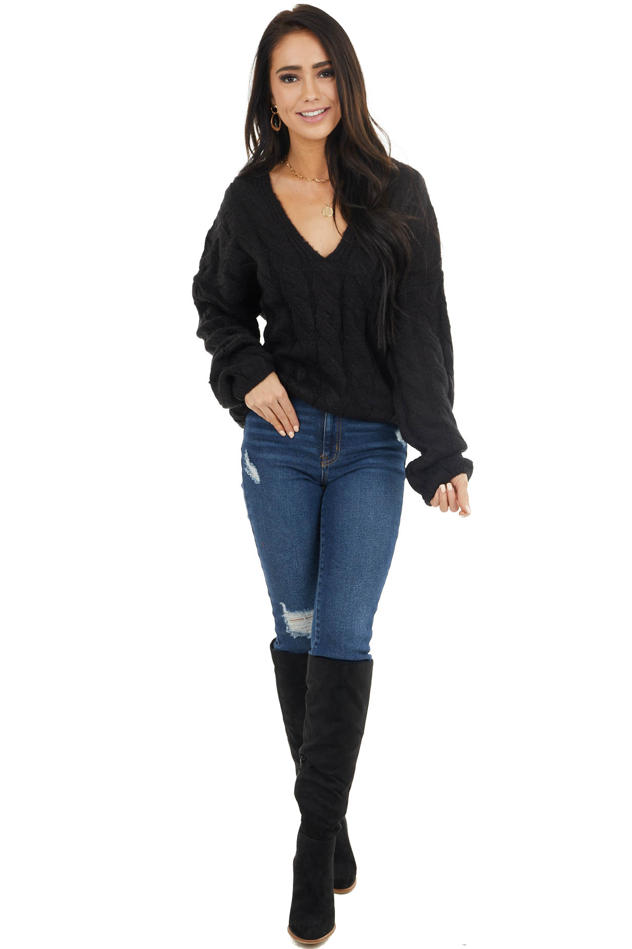 Black V Neck Cable Knit Sweater with Long Bubble Sleeves