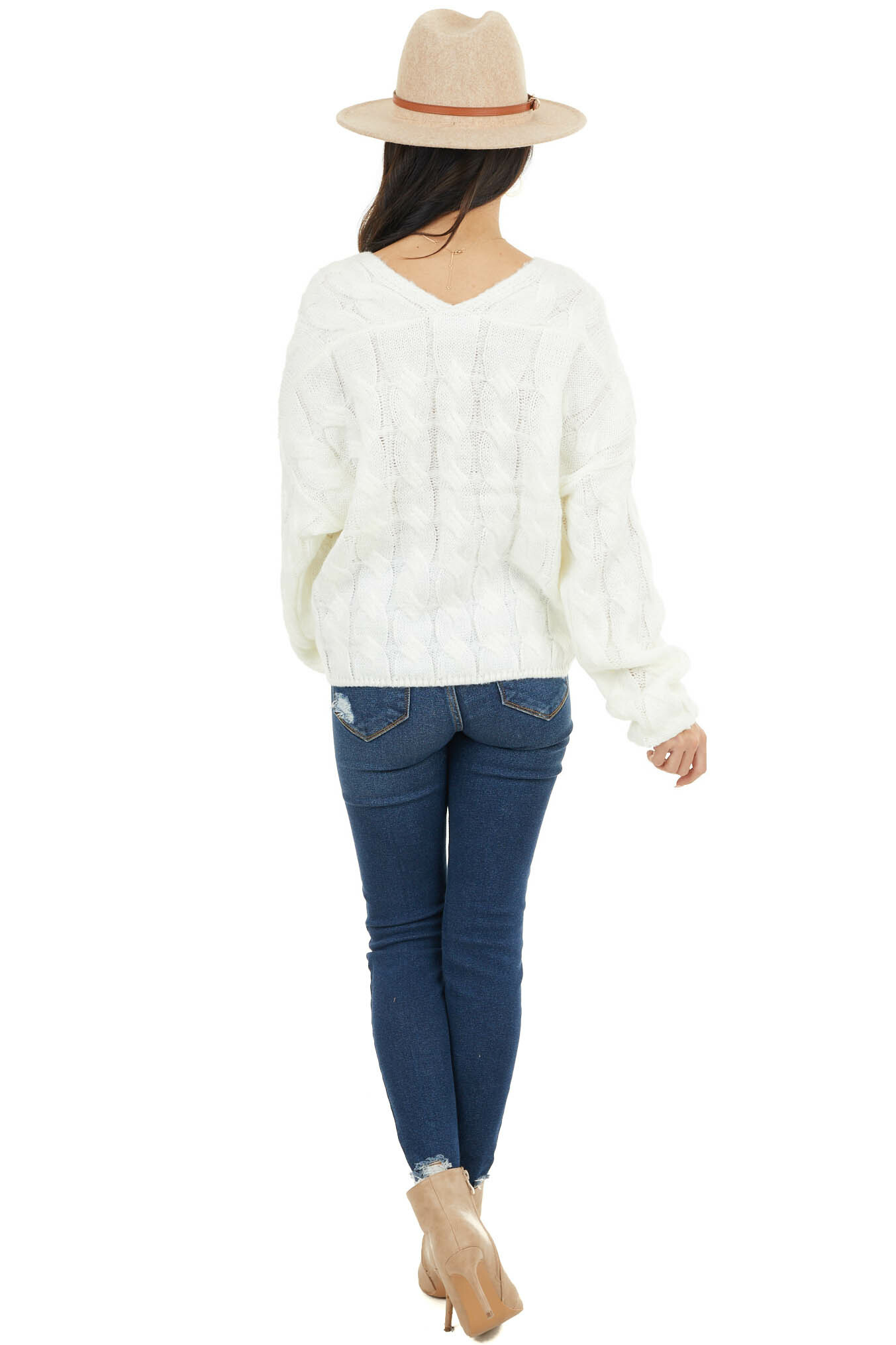 Cream V Neck Cable Knit Sweater with Long Bubble Sleeves