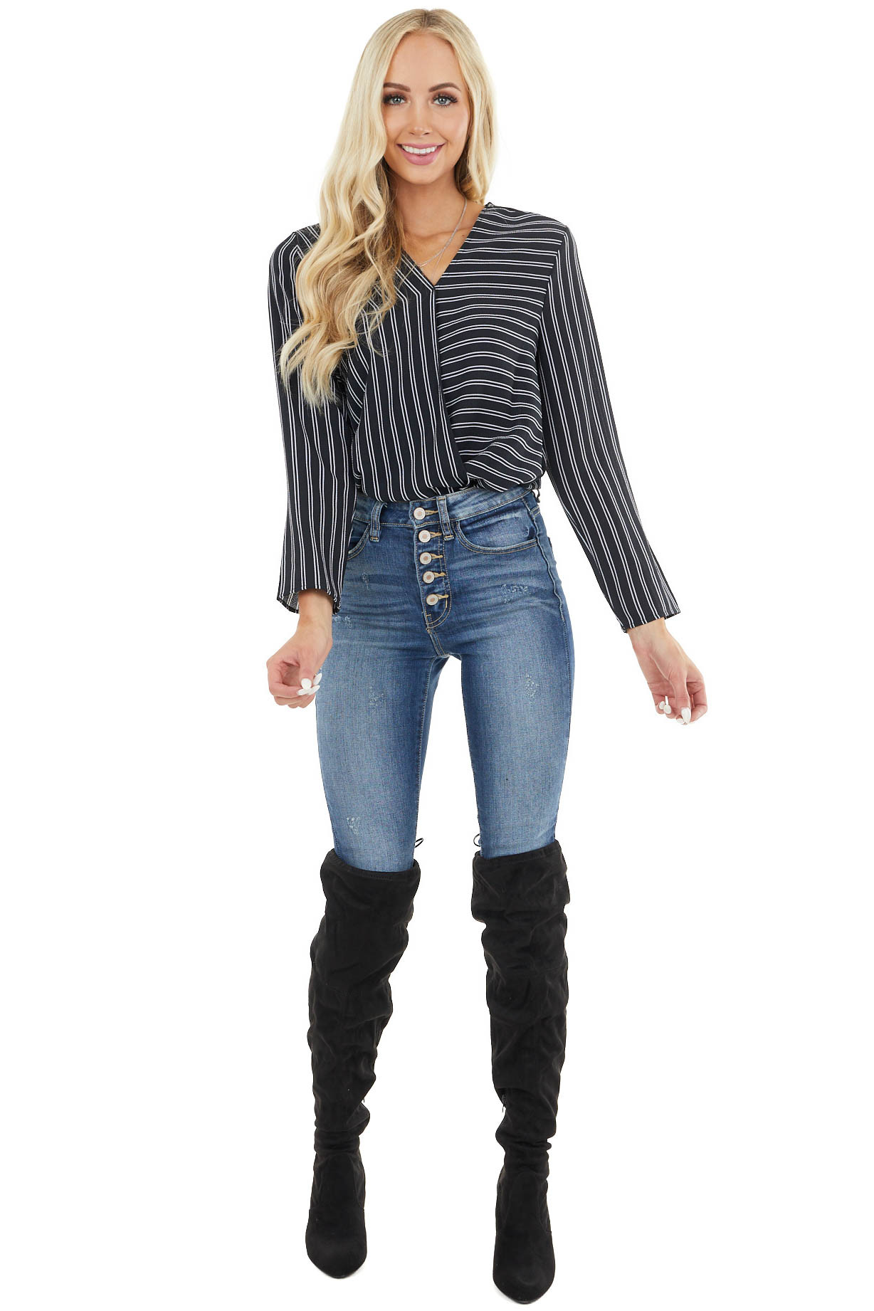 Black and White Striped Surplice Top with Long Sleeves