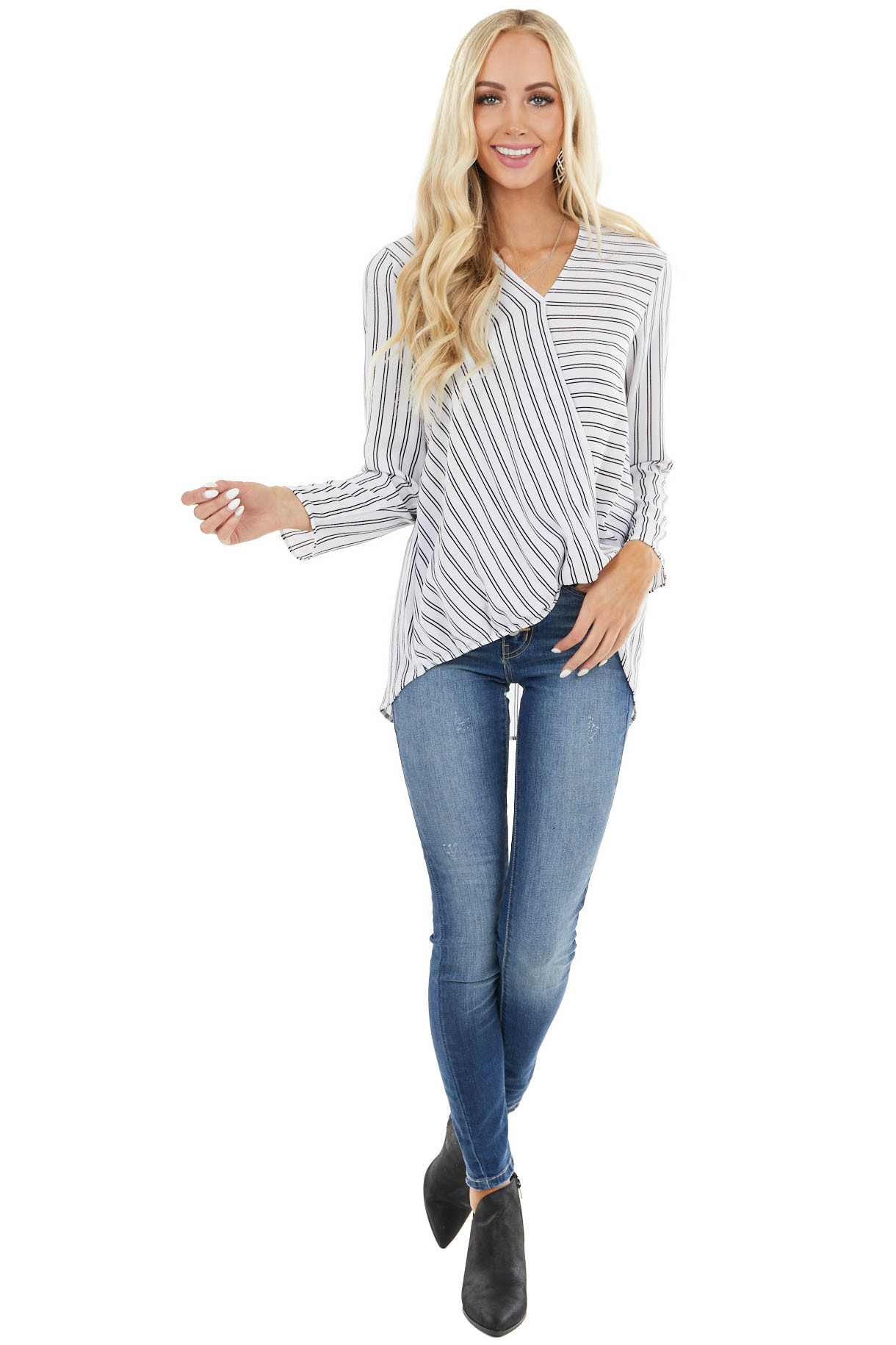 White and Black Striped Surplice Top with Long Sleeves