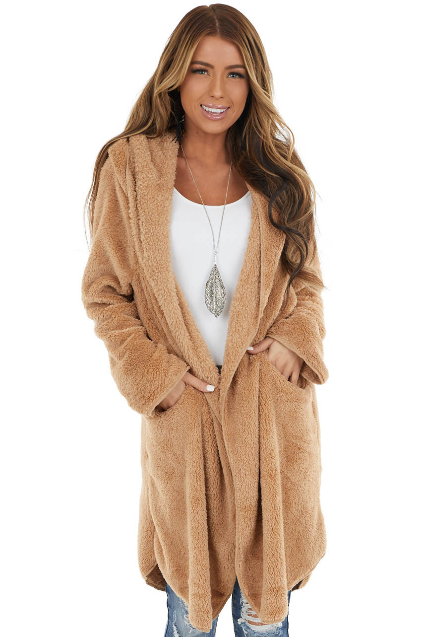Camel Open Front Super Soft Faux Fur Teddy Coat with Hood
