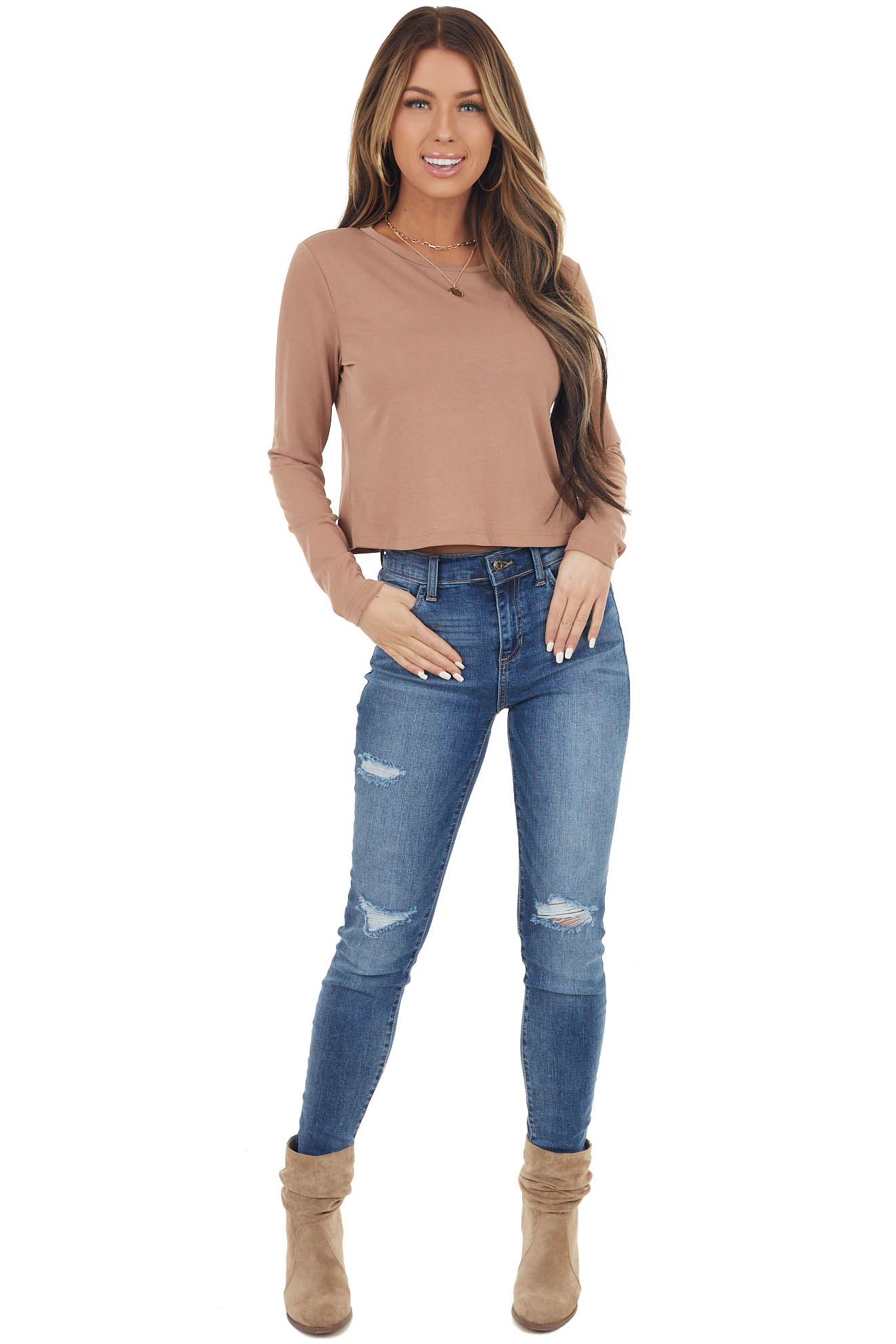 Camel Knit Crop Top with Long Sleeves and Rounded Neckline