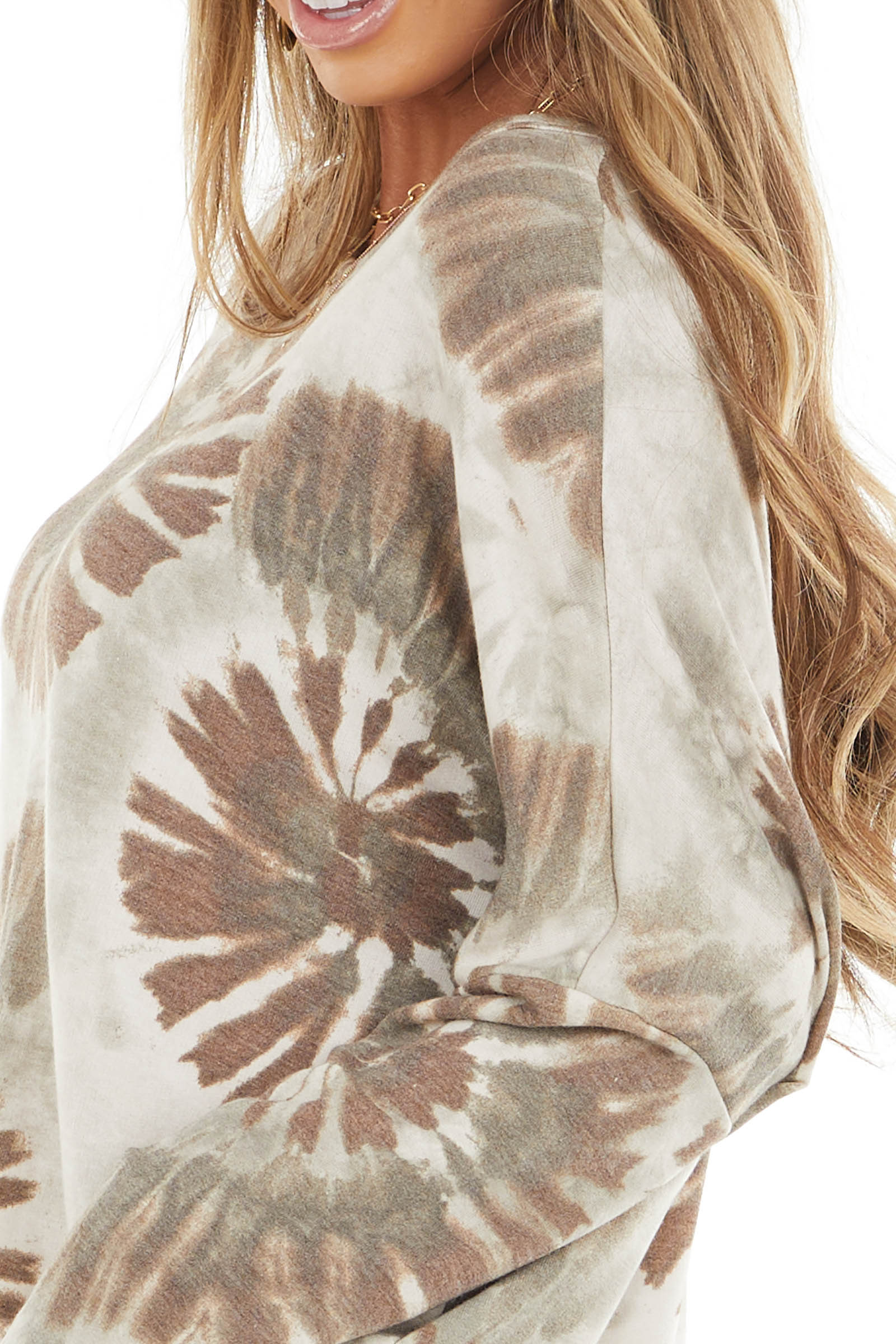 Oatmeal and Mocha Tie Dye Oversized Top with Long Sleeves