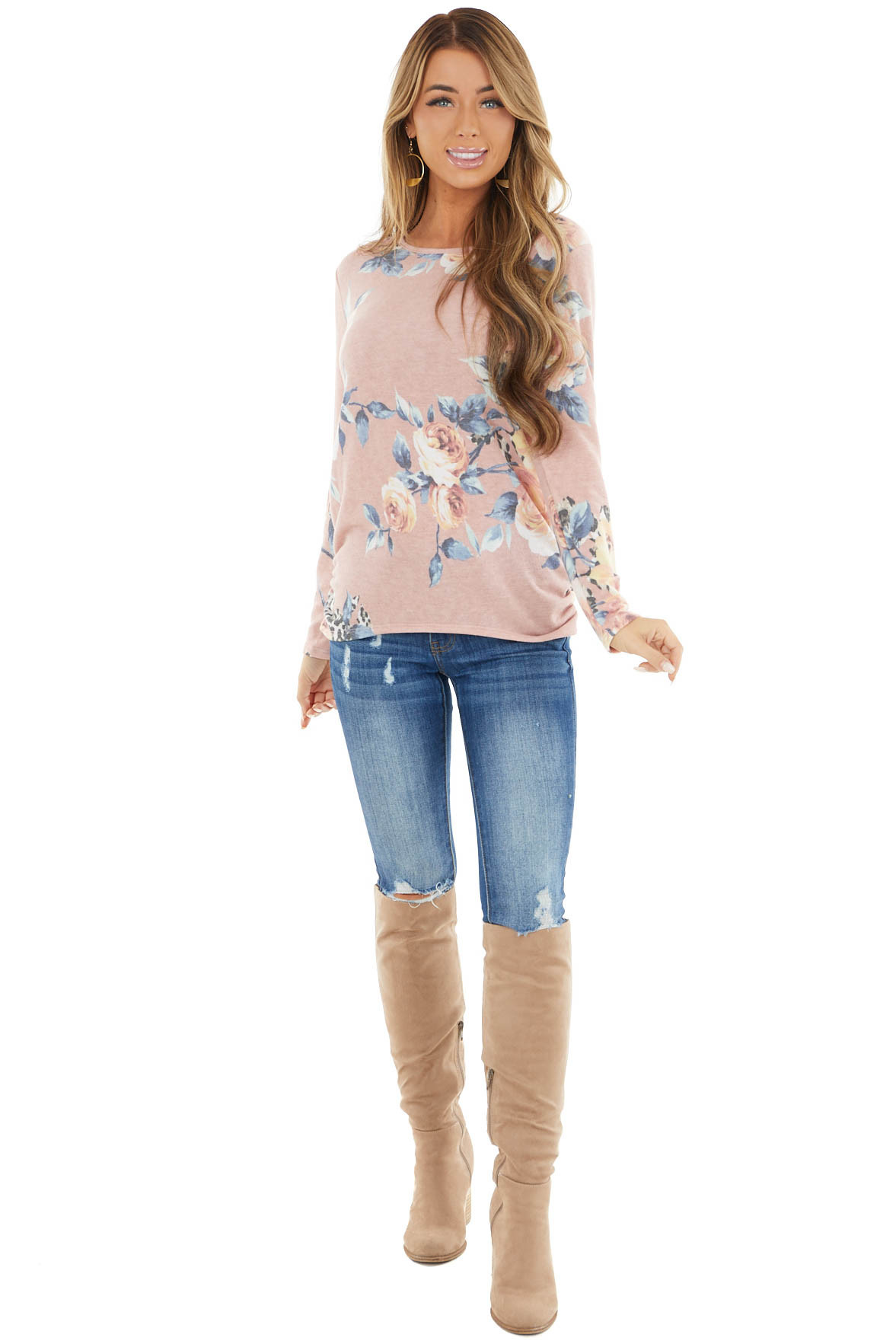 Dusty Blush Multiprint Knit Top with Long Sleeves