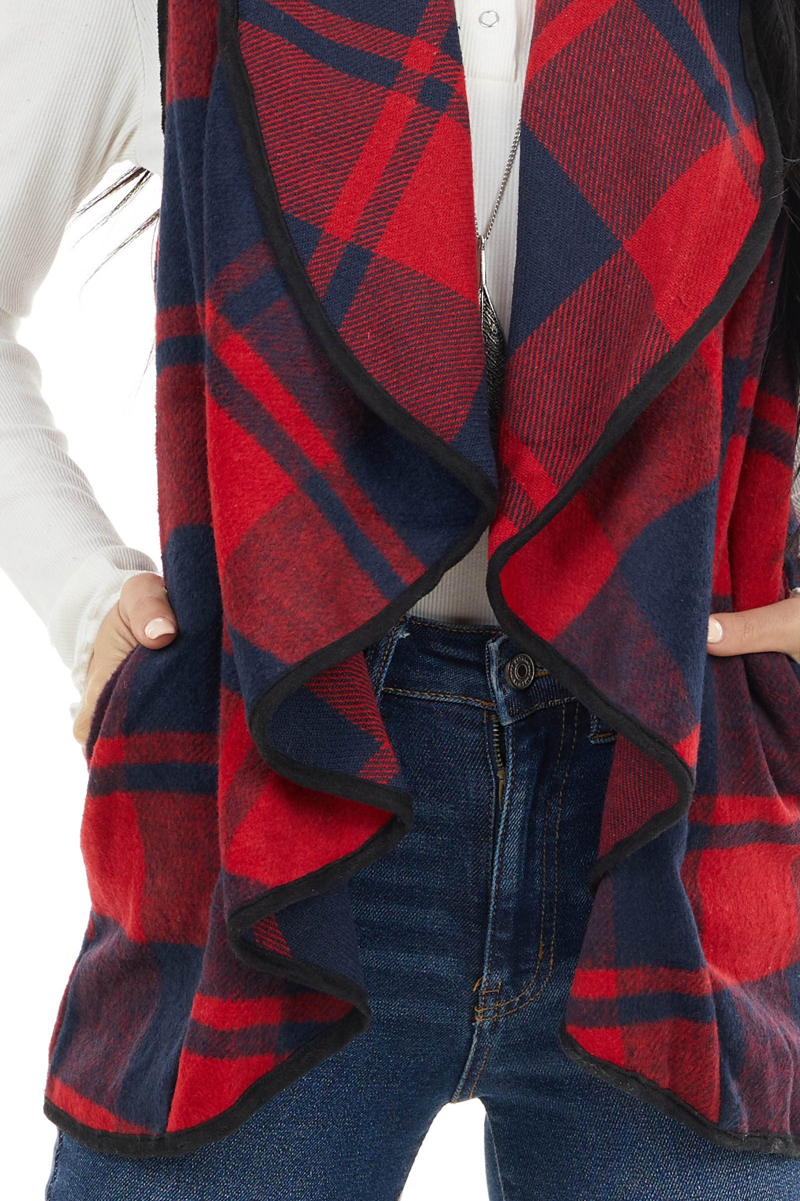 Cherry and Black Open Front Plaid Print Vest with Lapel