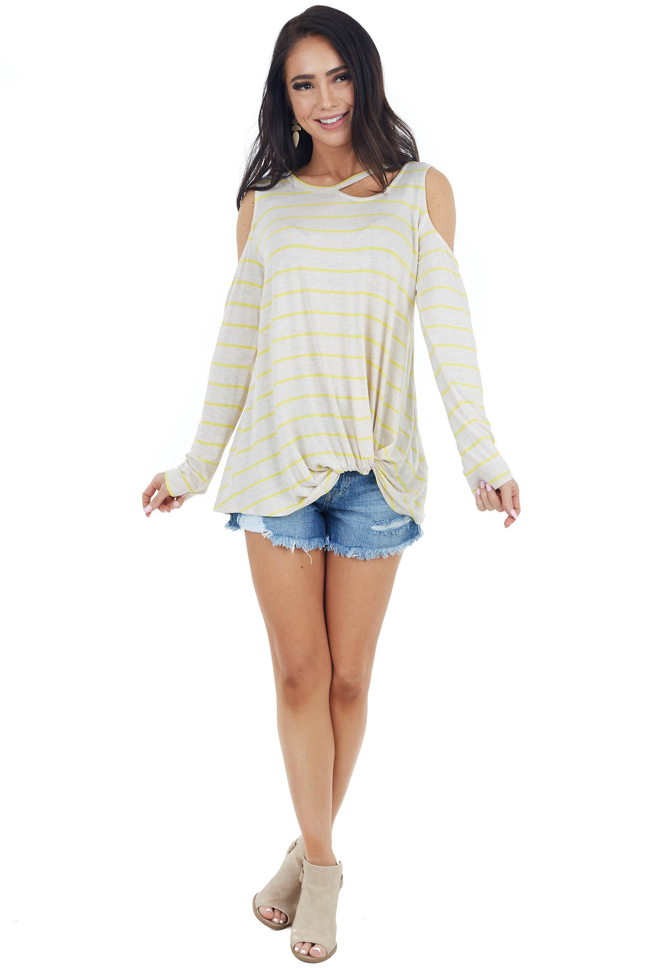 Oatmeal and Lemon Striped Cold Shoulder Top with Cutout Neck
