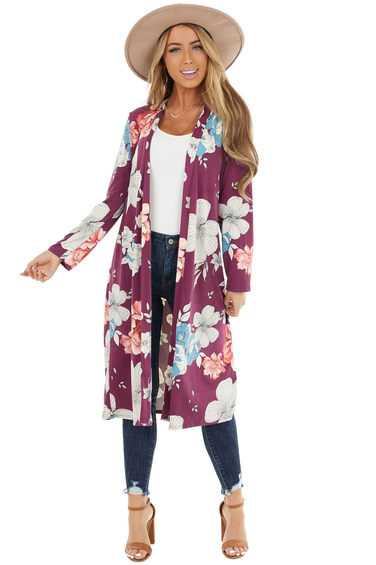 Plum Floral Print Open Front Cardigan with Long Sleeves