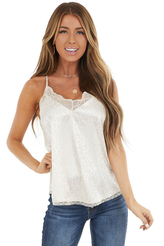 Ivory Leopard Print Camisole Top with Lace Details